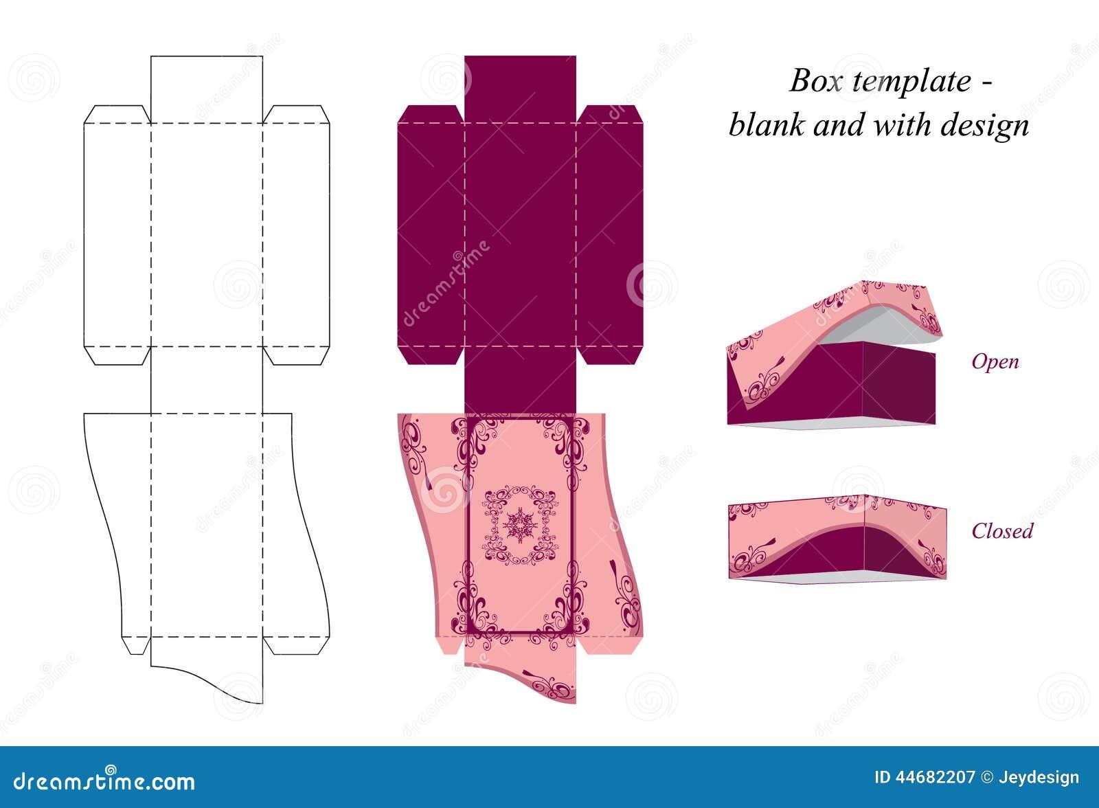 Plantilla interesante de la caja, espacio en blanco y con diseño