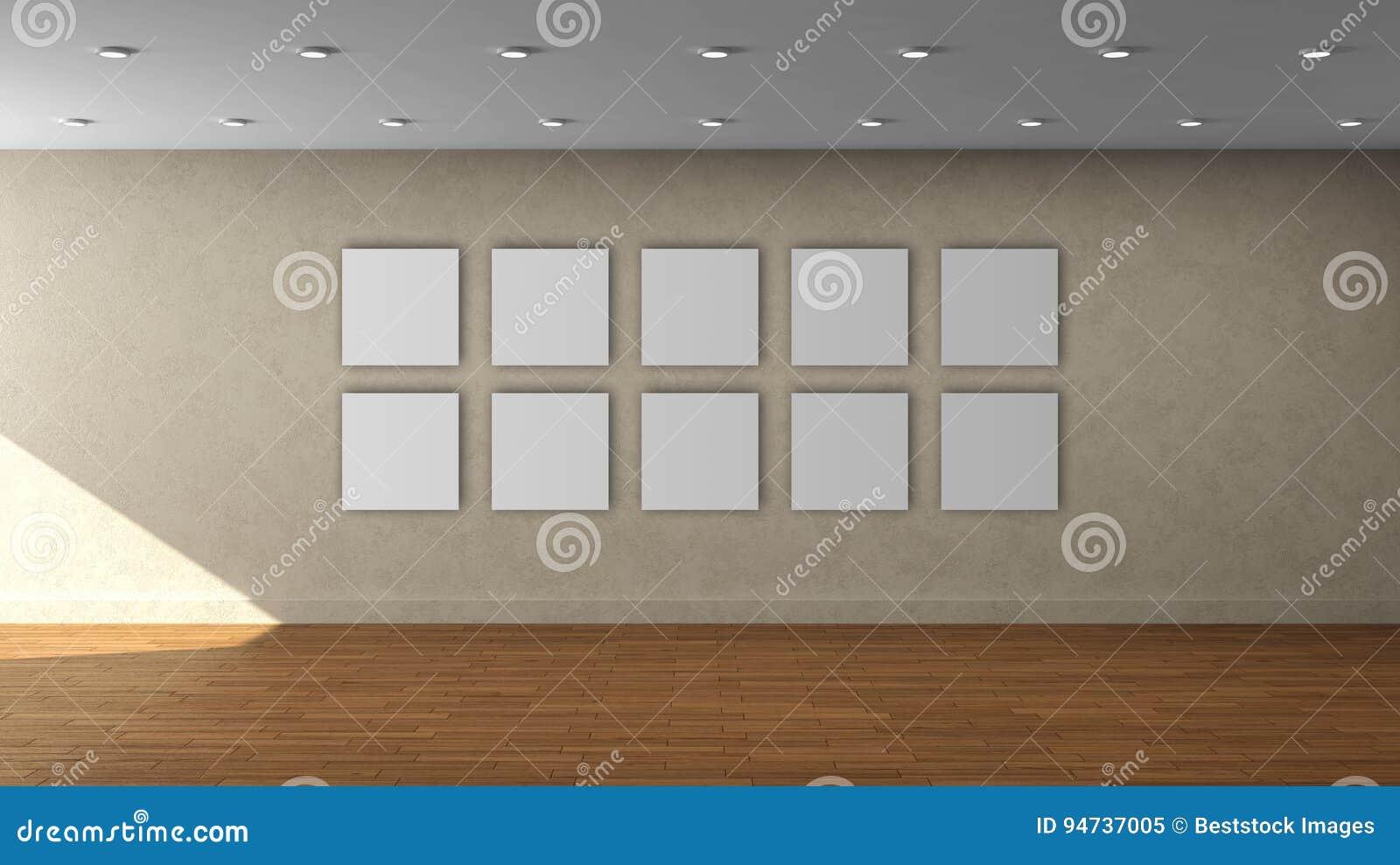 Plantilla interior vacía de la pared beige de alta resolución con el marco del cuadrado del color de 10 blancos en la pared delan