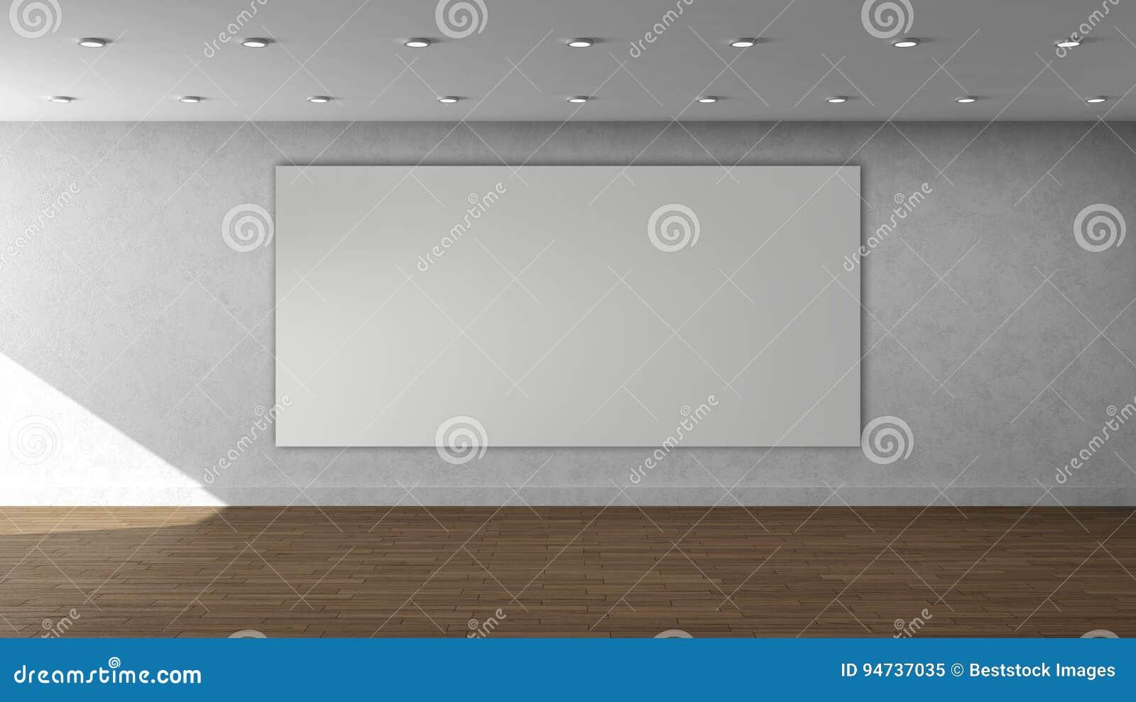 Plantilla interior vacía de la pared blanca de alta resolución con el marco rectangular del color blanco grande en la pared delan