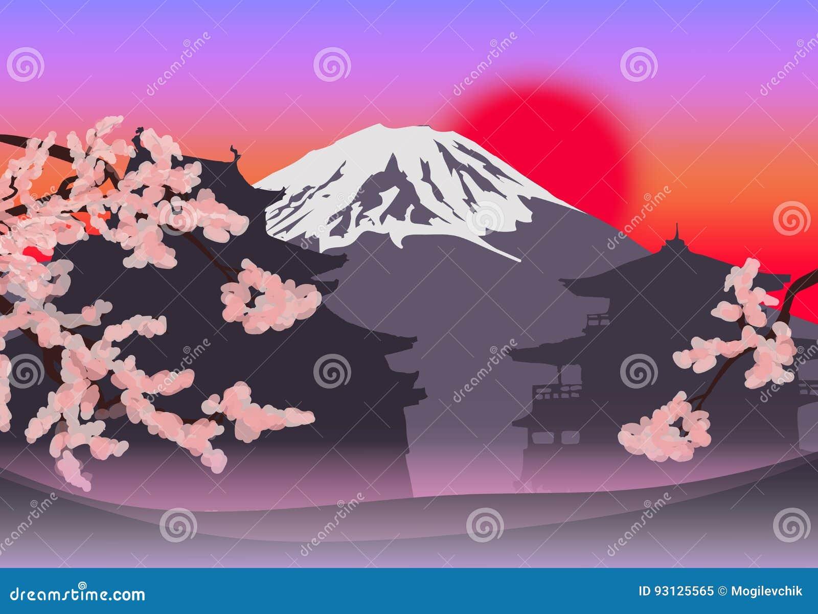 Plantilla Japonesa Hermosa Del Paisaje De La Primavera Ilustración ...
