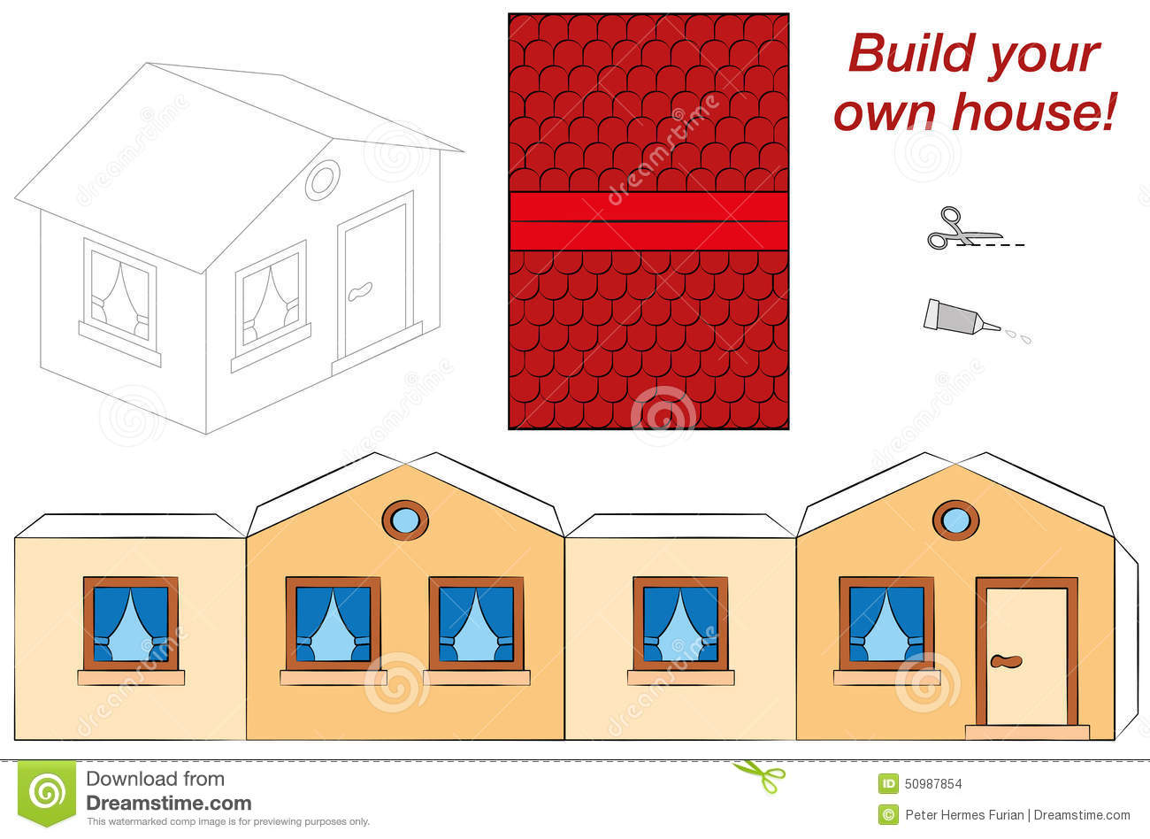 Plantilla linda de la casa ilustraci n del vector imagen for Build your own house online free