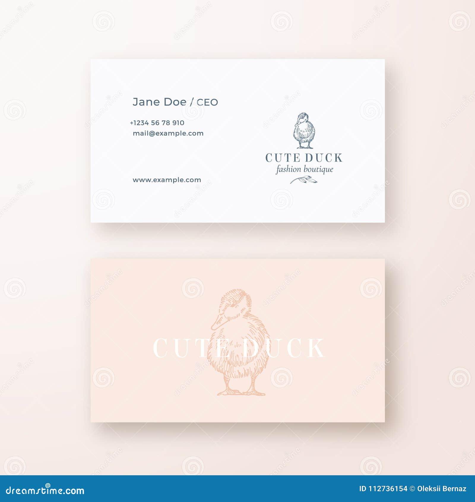 Plantilla linda de la tarjeta de Duck Abstract Feminine Vector Sign o del logotipo y de visita Mofa realista inmóvil superior par
