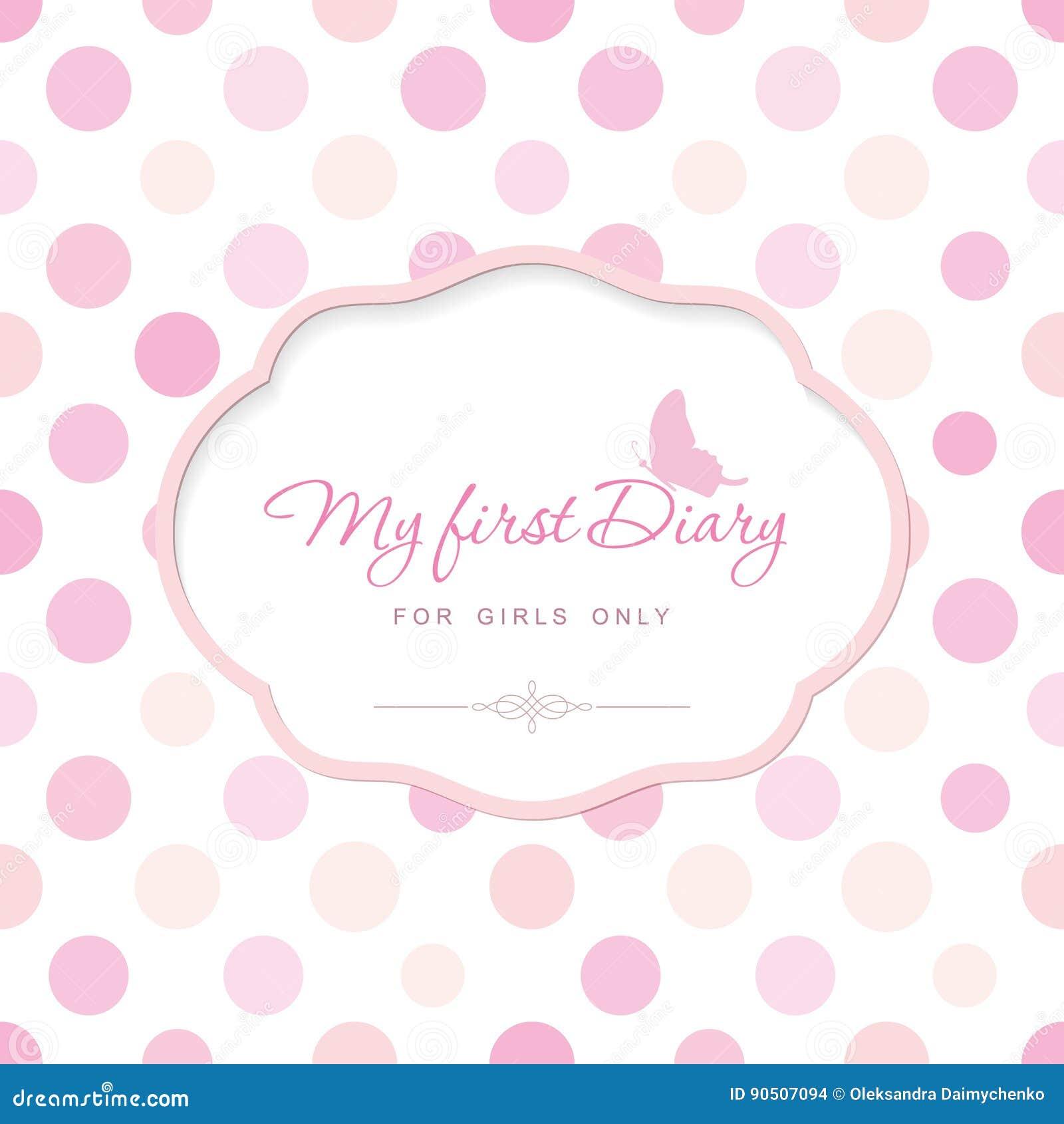 Plantilla linda para la cubierta del cuaderno para las muchachas Mi primer diario Marco elegante con la mariposa en lunar puede s