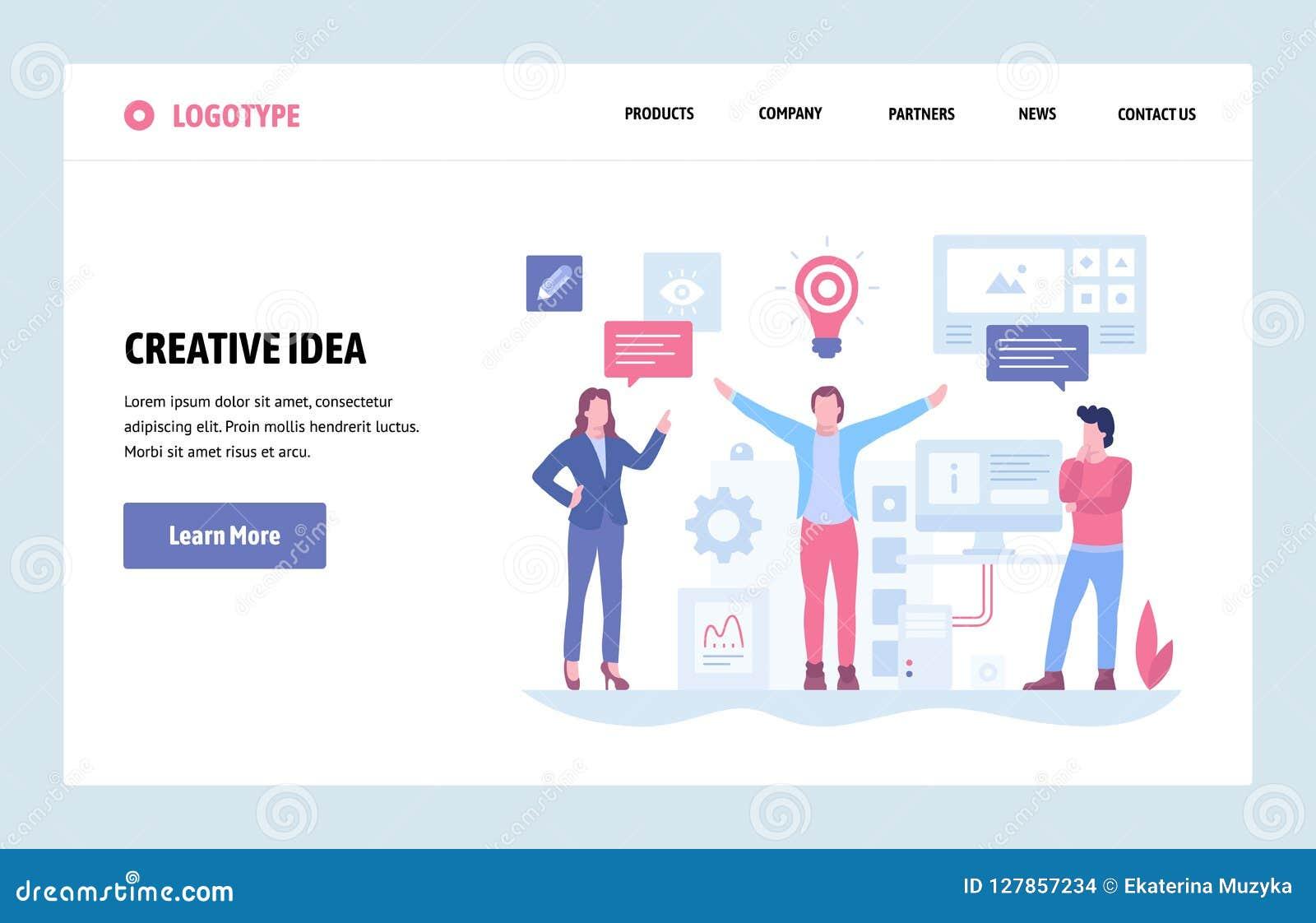 Plantilla linear del diseño del arte del sitio web del vector Idea y concepto creativos de las soluciones del negocio Página de a
