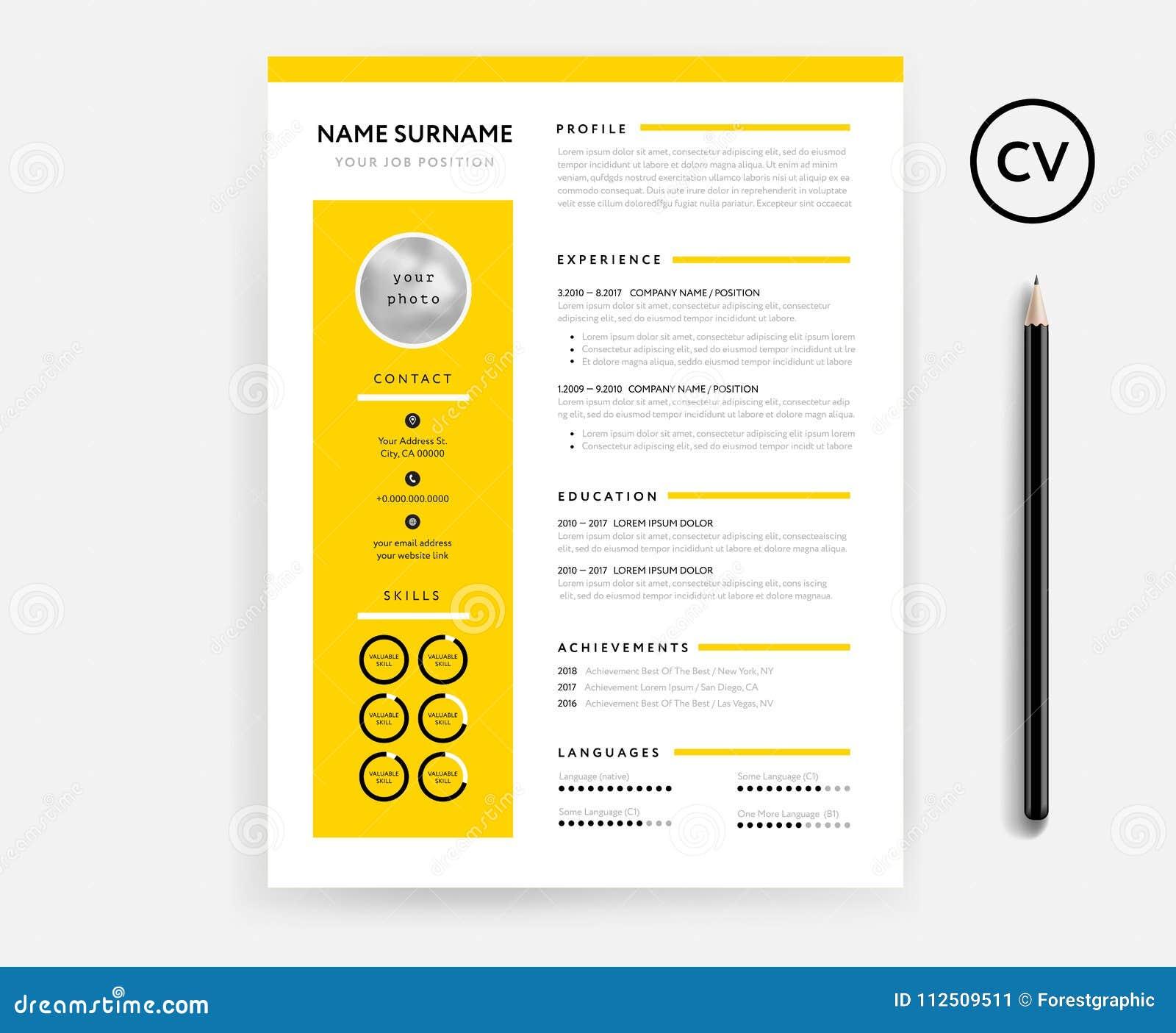 Plantilla Mínima Creativa Del CV/del Curriculum Vitae - Color ...