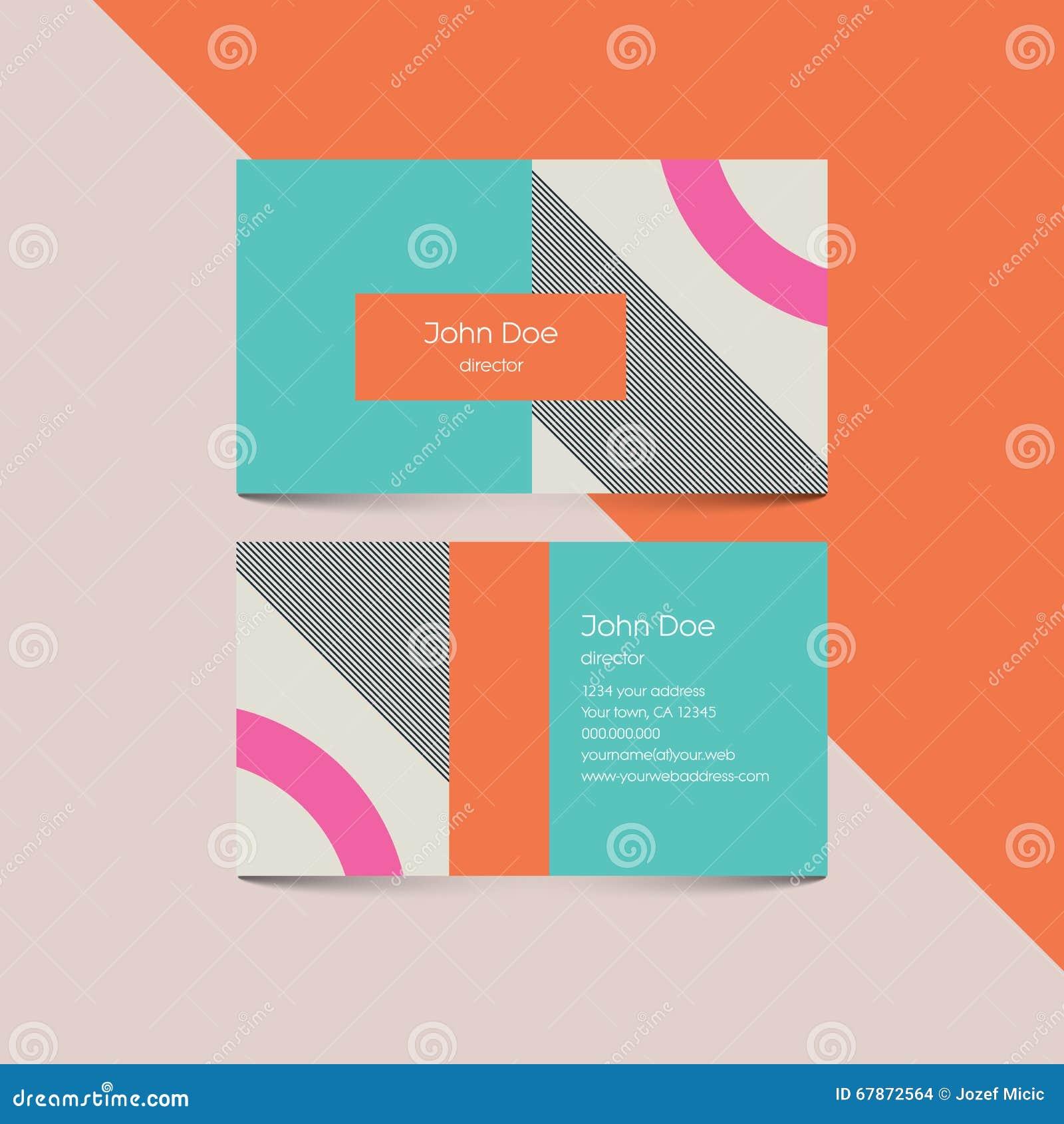 Plantilla material de la tarjeta de visita del diseño con el fondo del estilo 80s Elementos retros modernos y formas geométricas