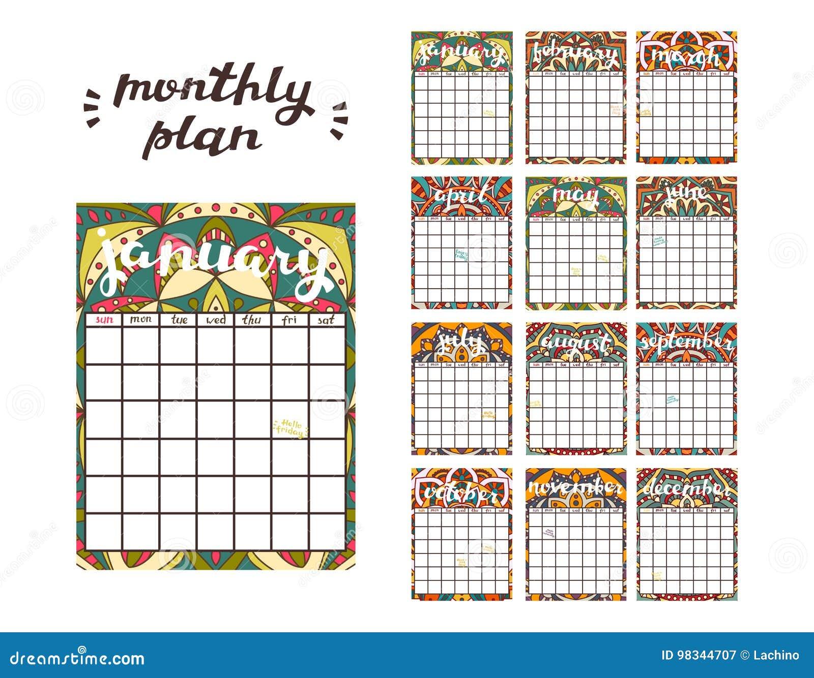 Plantilla Mensual Del Planificador Calendario Del Planificador Con ...