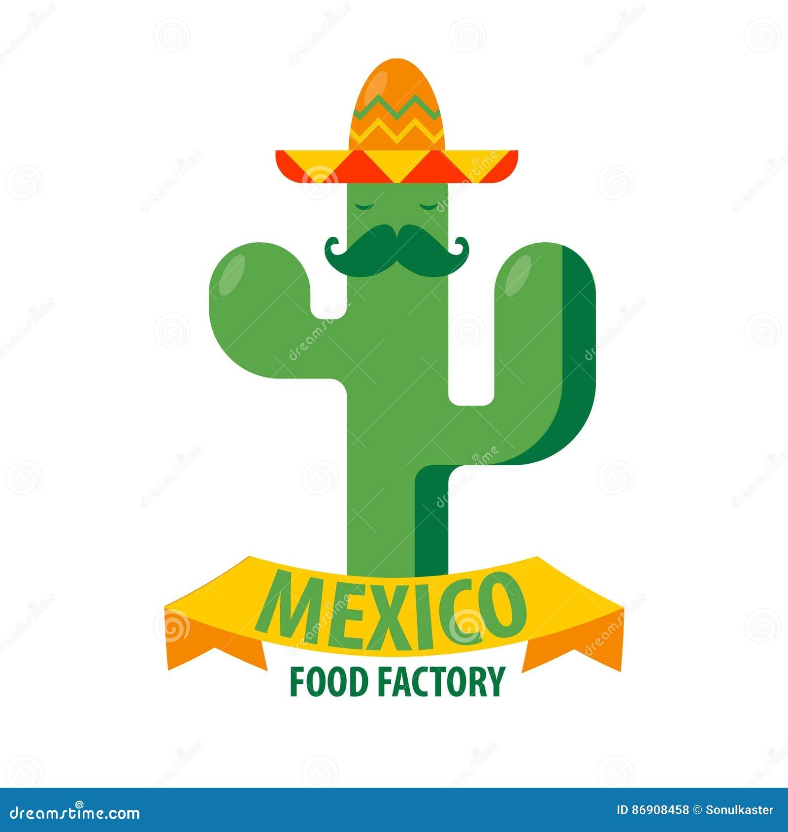 e7e1ed5c25868 Plantilla mexicana del icono del vector del restaurante del cactus en  sombrero del sombrero