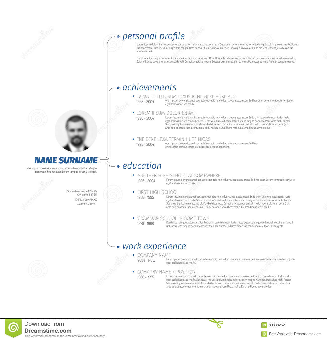 Cv Minimalista. Cool Color With Cv Minimalista. Excellent Vector ...