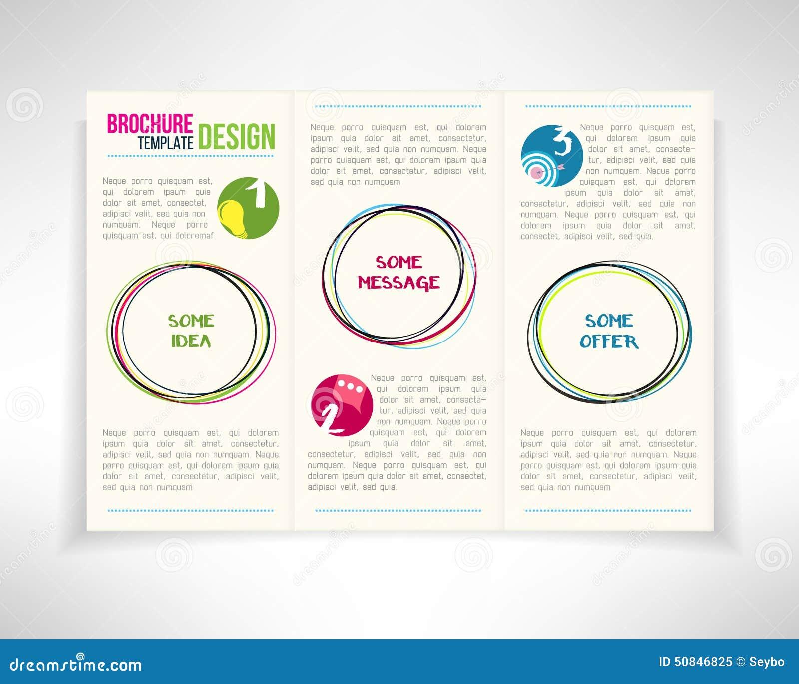 Plantilla moderna del diseño del aviador del prospecto del folleto de tres dobleces con los círculos Ilustración del vector