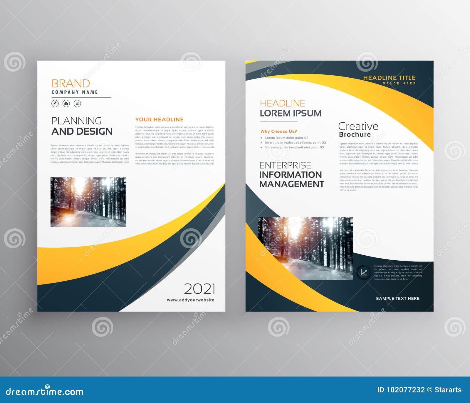 738e12e168506 Plantilla moderna del diseño del folleto del negocio con la onda negra  amarilla