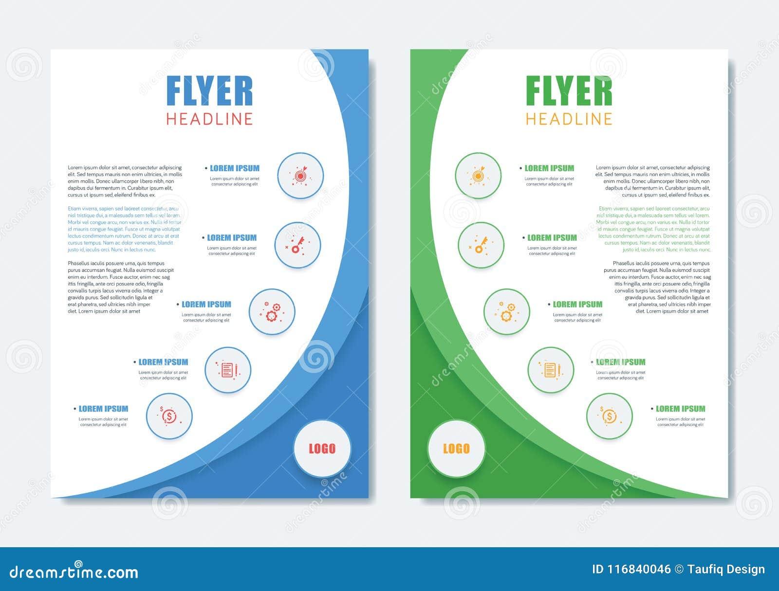 2c80b2bf4b945 Plantilla moderna del folleto del negocio Diseño limpio minimalista de la  disposición del aviador de tamaño A4 con la forma de Dinamic Ilustración  del ...