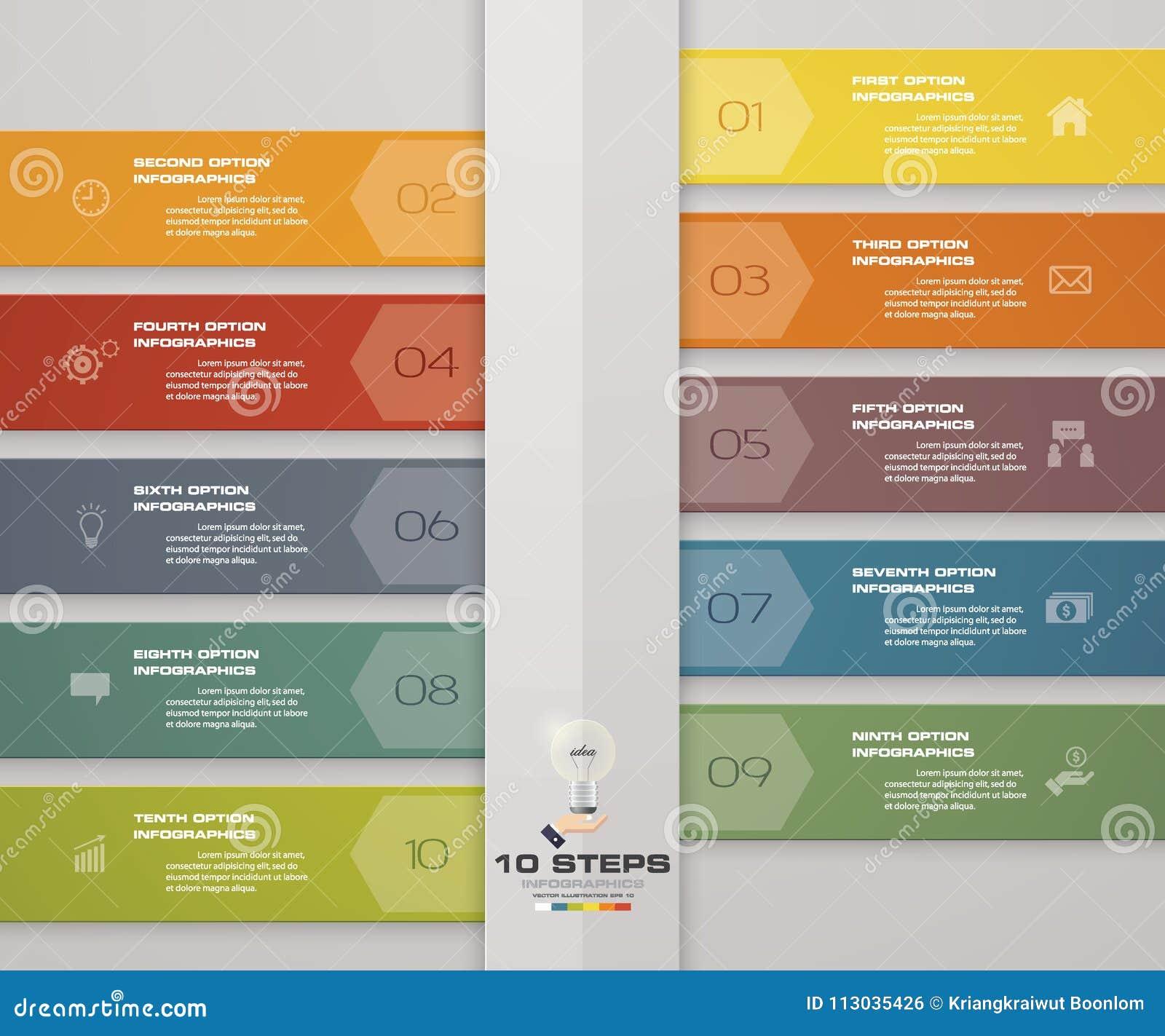 Plantilla moderna del infographics del negocio de la presentación de 10 opciones