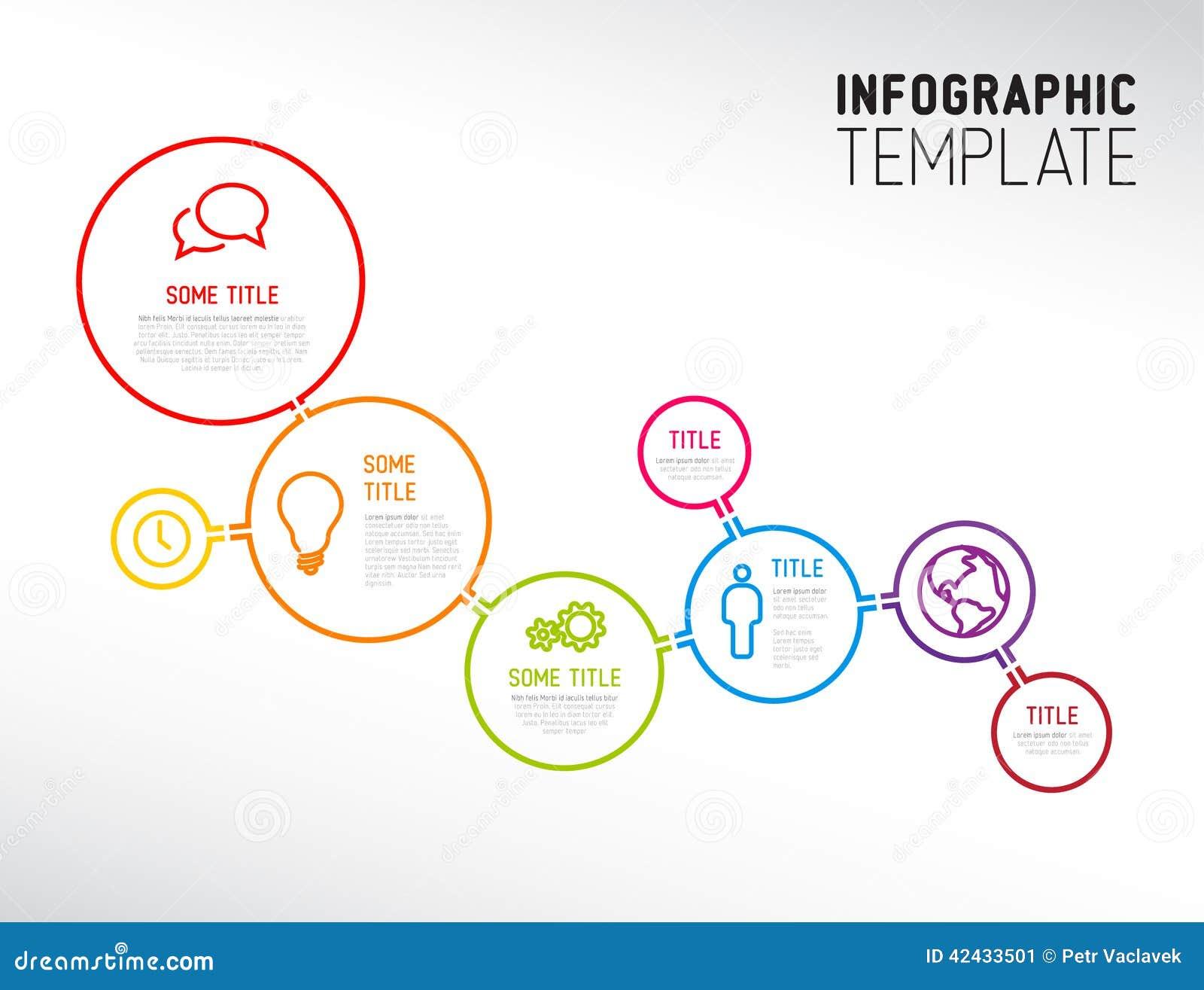 Plantilla moderna del informe de Infographic hecha de líneas y de círculos