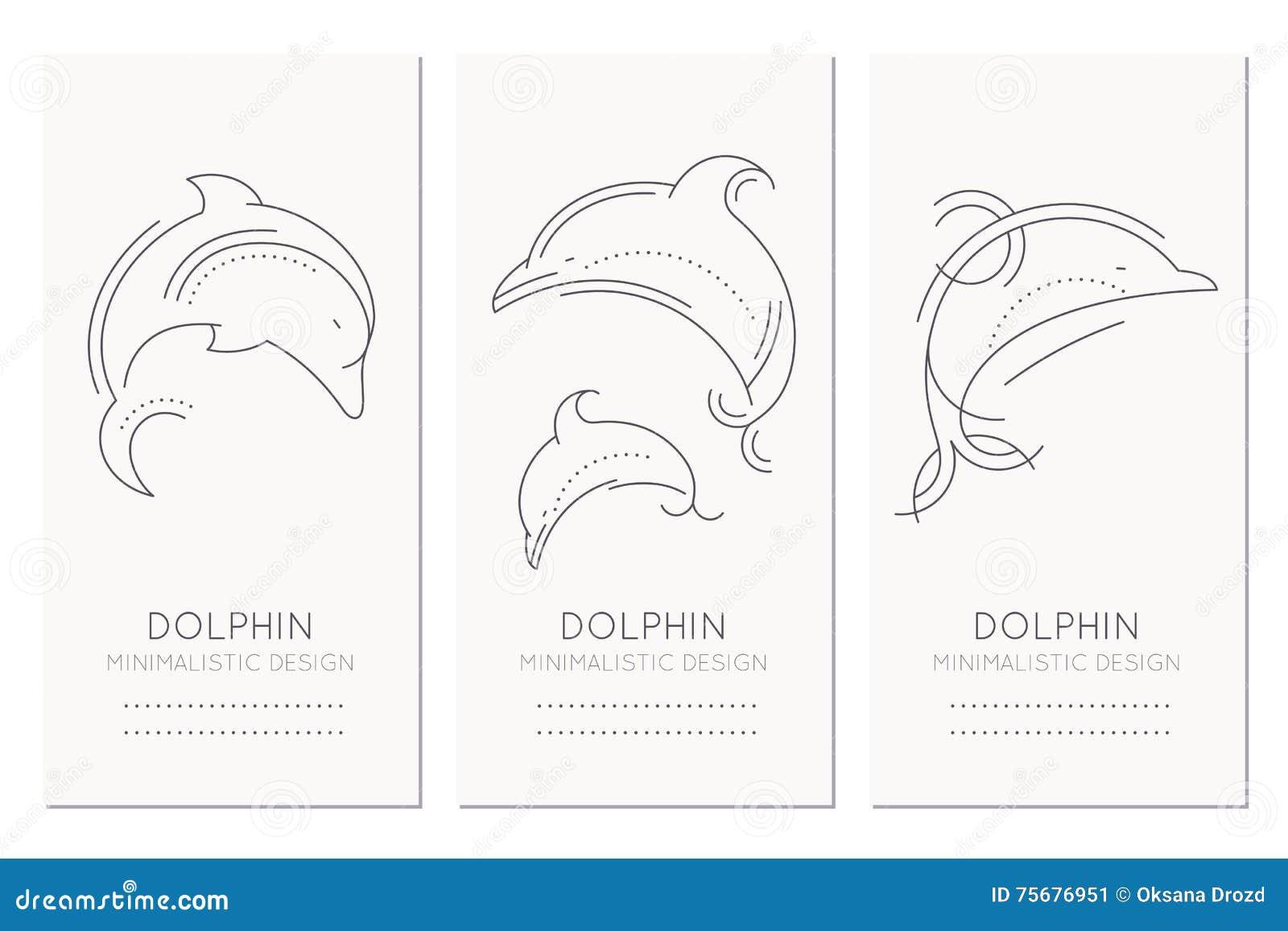 Plantilla náutica del diseño de tarjeta con la línea fina ejemplos del estilo de delfínes