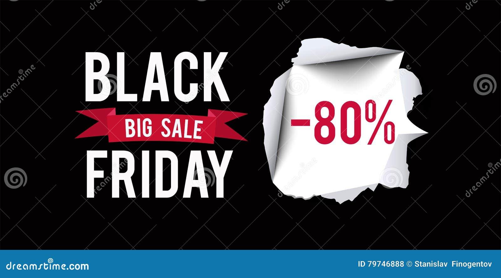 Plantilla negra del diseño de la venta de viernes Black Friday bandera del descuento del 80 por ciento con el fondo negro Ilustra