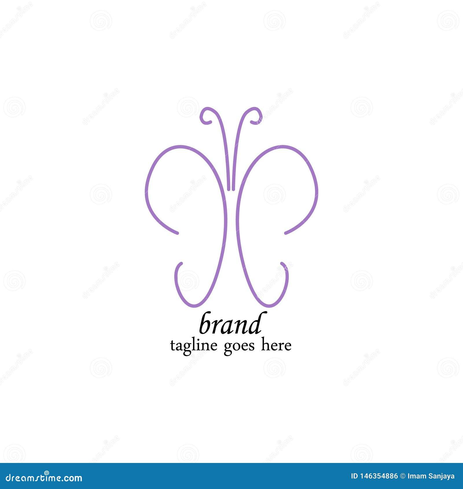 Plantilla púrpura lujosa del logotipo de la mariposa