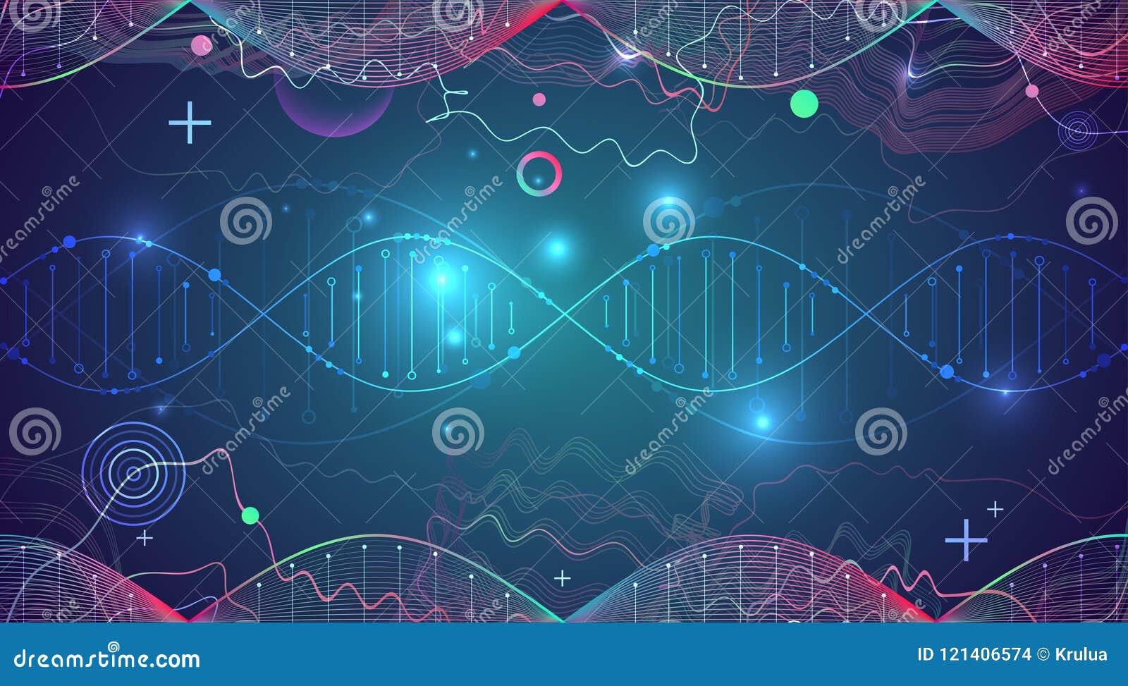 Plantilla, papel pintado o bandera de la ciencia con las moléculas de una DNA