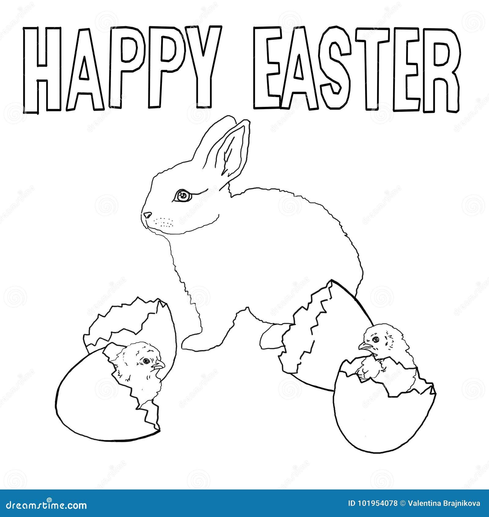 Plantilla Para Colorear Conejo De Pascua Pollos Cáscara