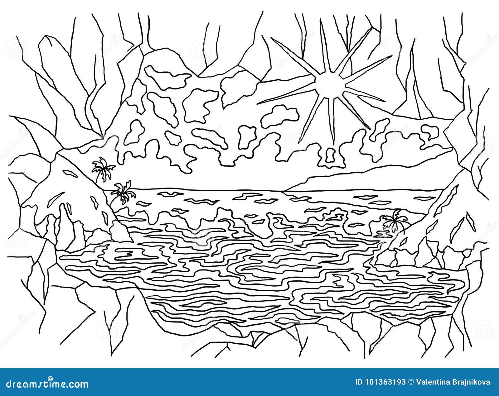 Plantilla Para Colorear Pintura De Paisaje Stock de ilustración ...