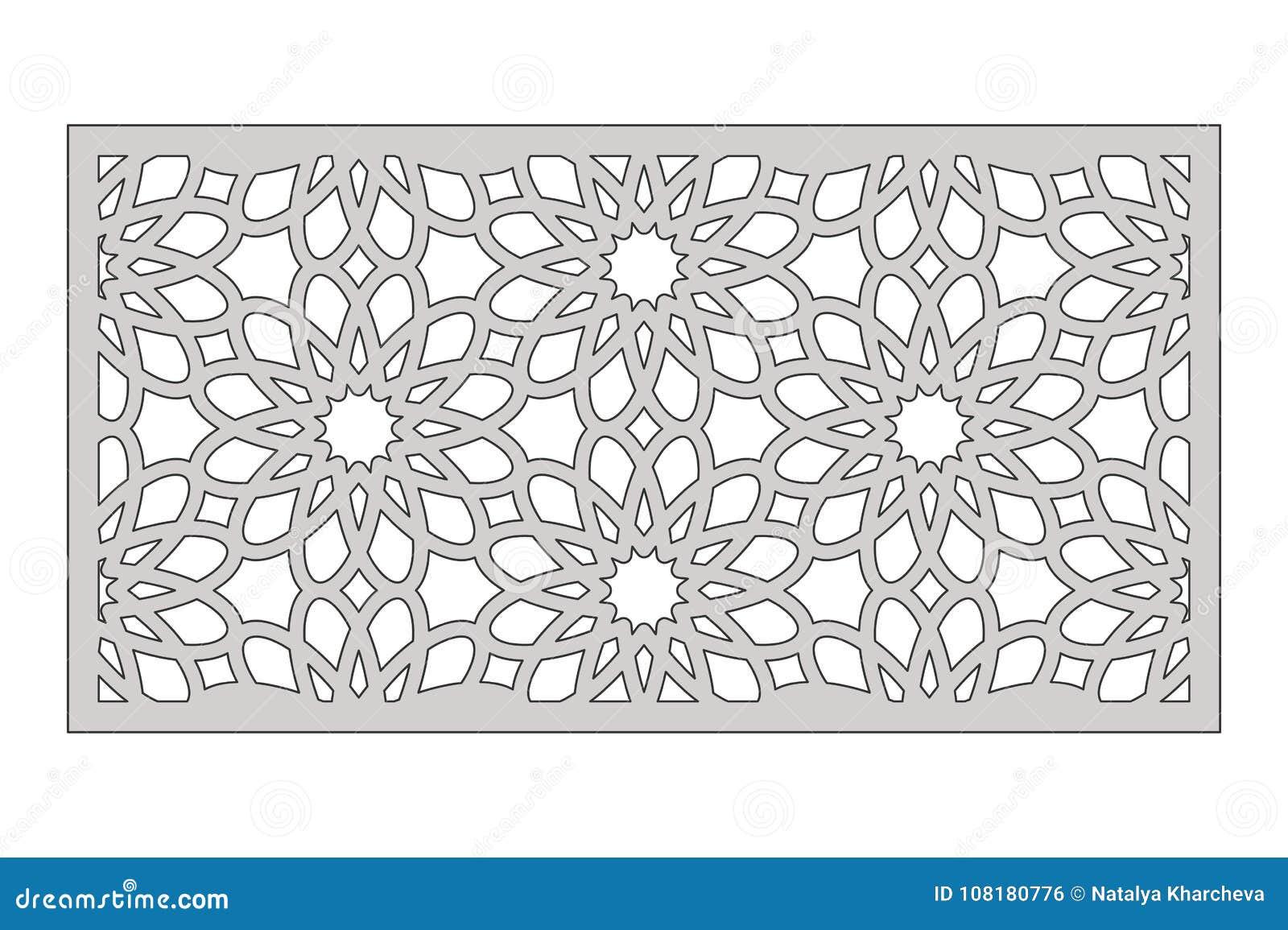Plantilla Para Cortar Modelo De Flor Geométrico Corte Del Laser 1:2 ...