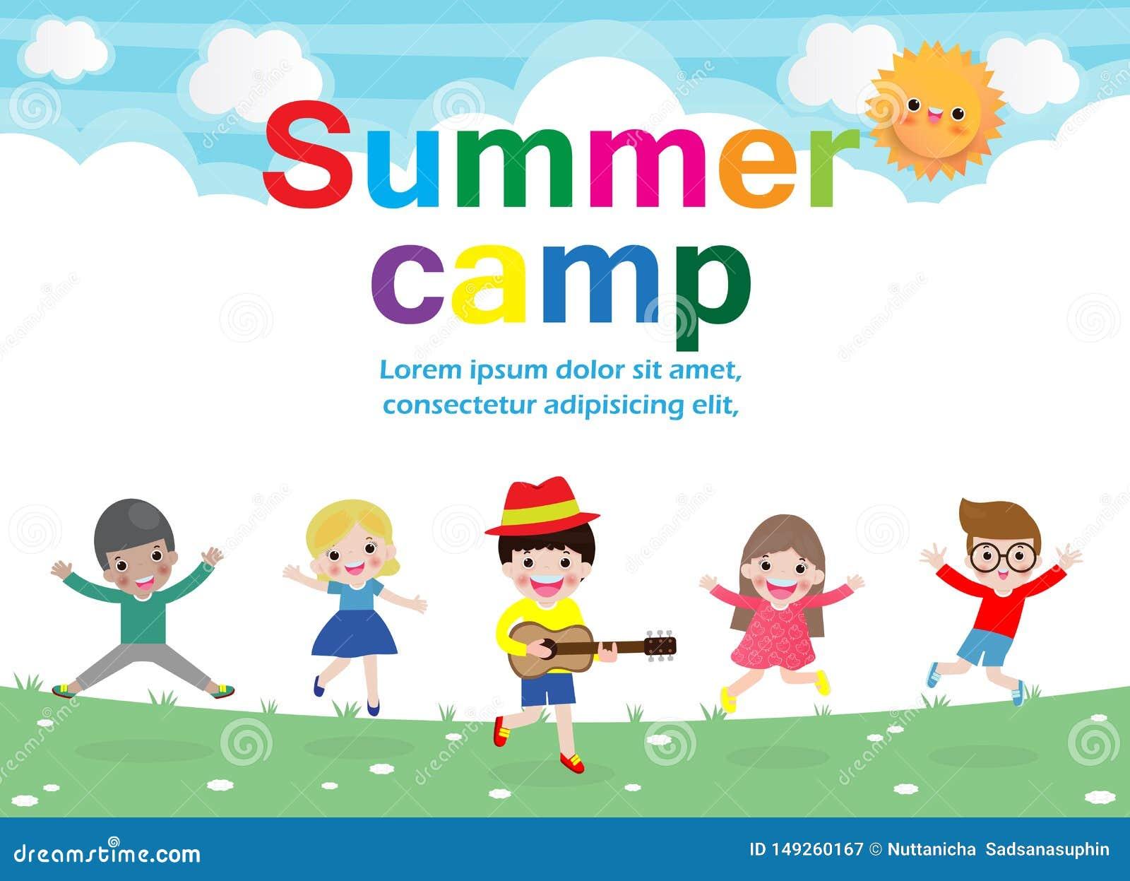 Plantilla para el folleto de publicidad, actividades del concepto de la educaci?n de los ni?os del campamento de verano en el car