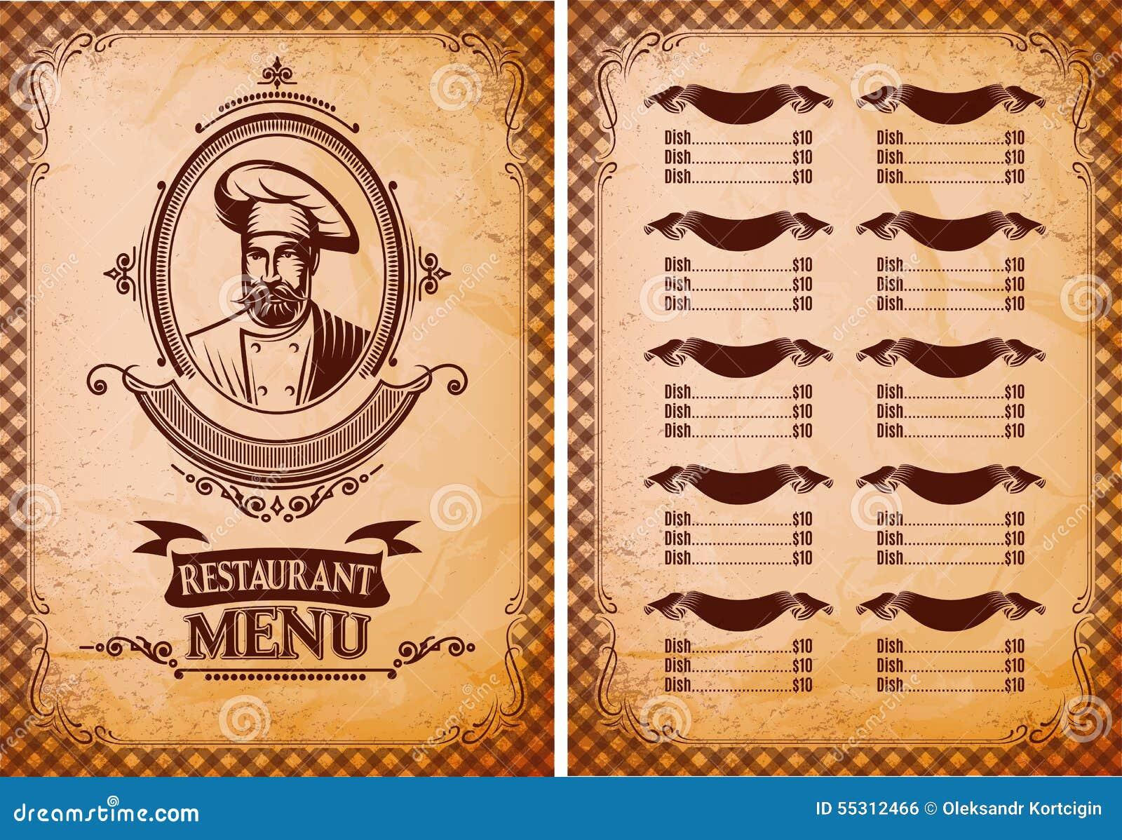 Plantilla para el men del restaurante en estilo retro con for Programas de dibujo de cocinas gratis