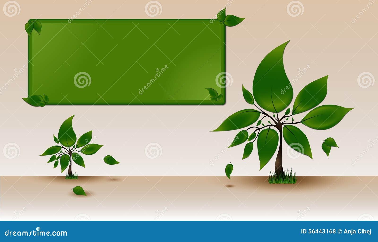 Plantilla Para El Texto Con Los árboles Verdes Stock de ilustración ...