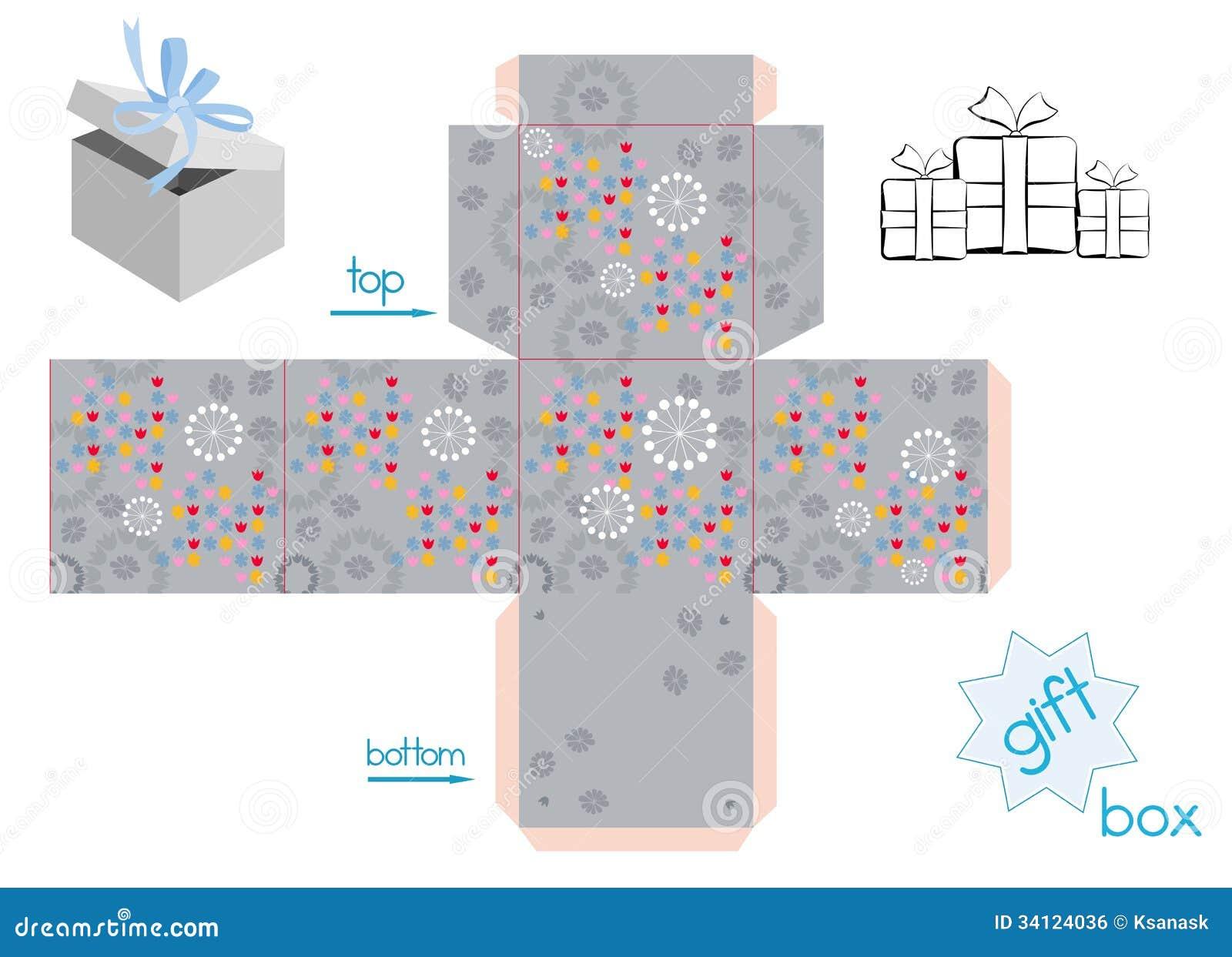 Plantilla De La Caja Cuadrada Con La Tapa Ilustración del Vector ...