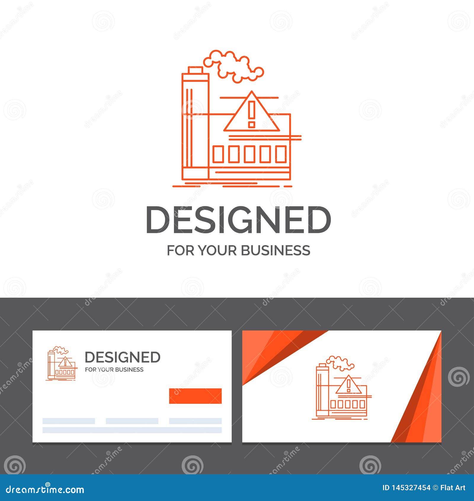 Plantilla para la contaminación, fábrica, aire, alarma, industria del logotipo del negocio Tarjetas de visita anaranjadas con la