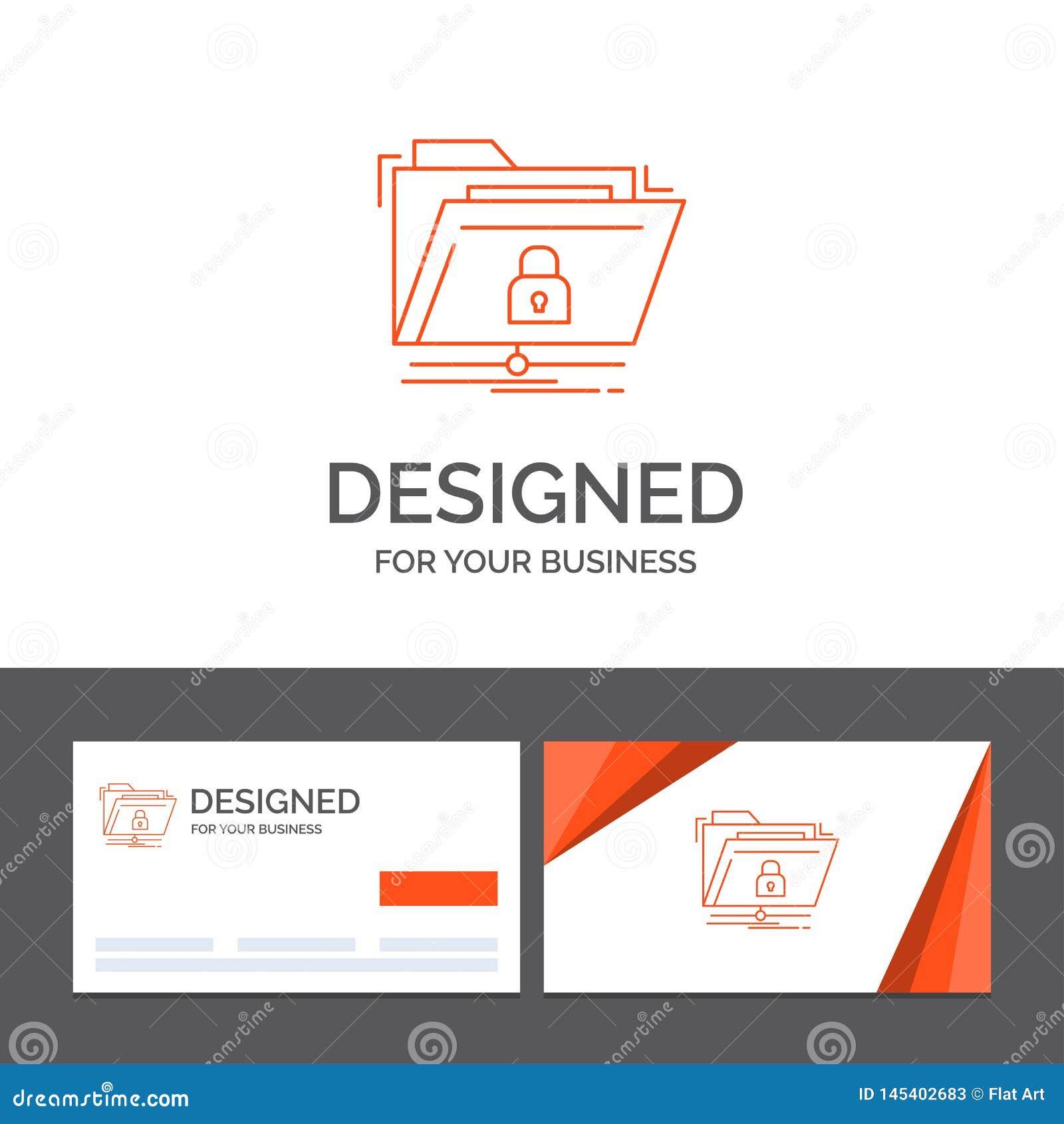 Plantilla para la encripci?n, ficheros, carpeta, red del logotipo del negocio, segura Tarjetas de visita anaranjadas con la plant