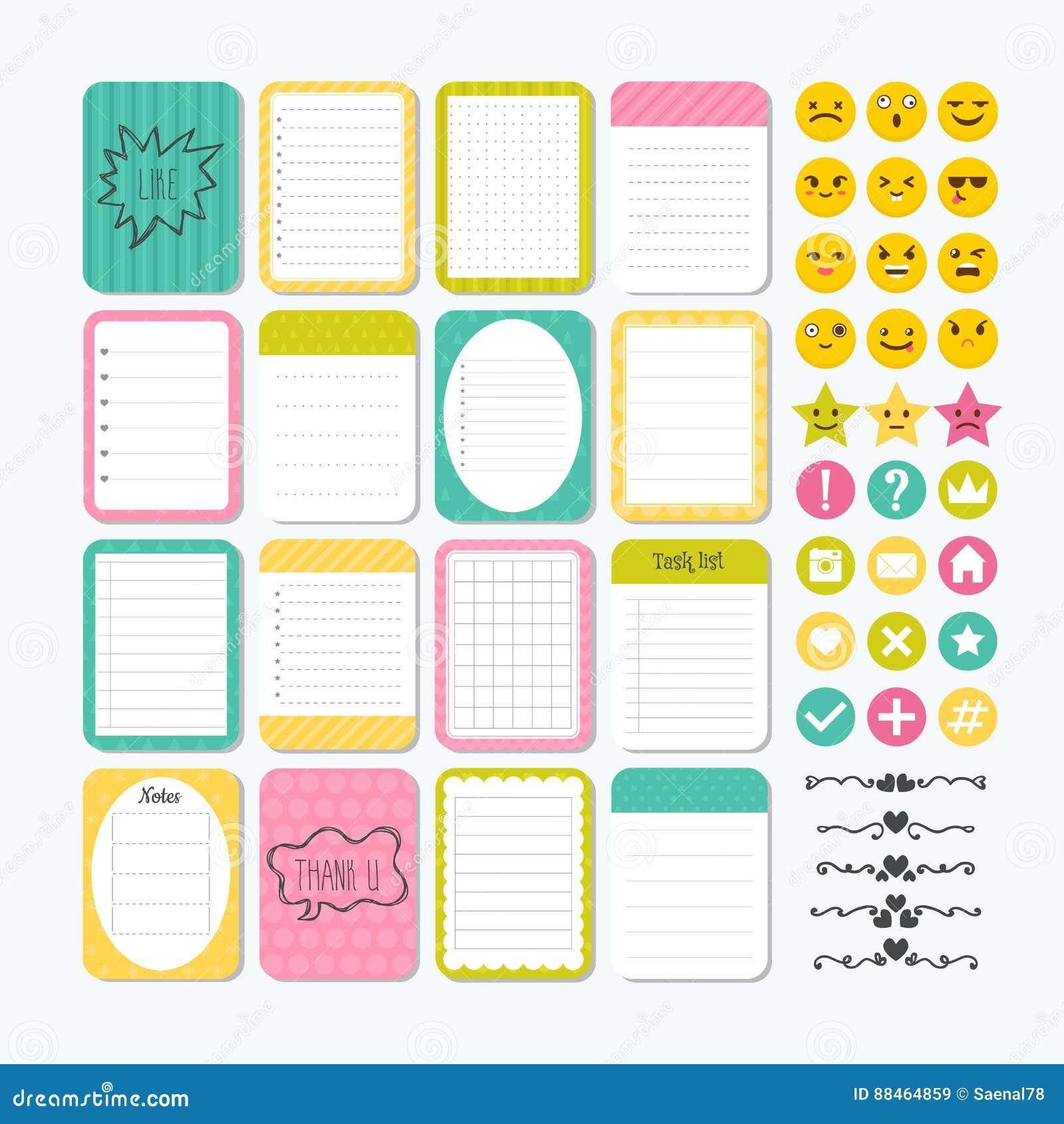 Plantilla Para Los Cuadernos Elementos Lindos Del Diseño Notas ...
