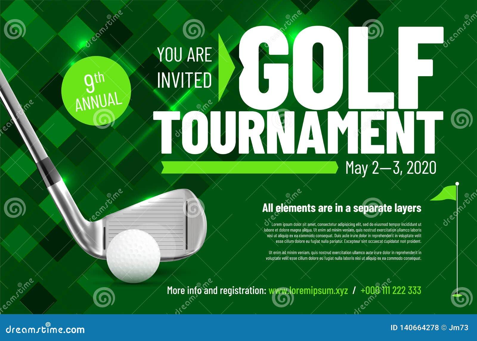 Plantilla para su invitación del torneo del golf con el texto de la muestra
