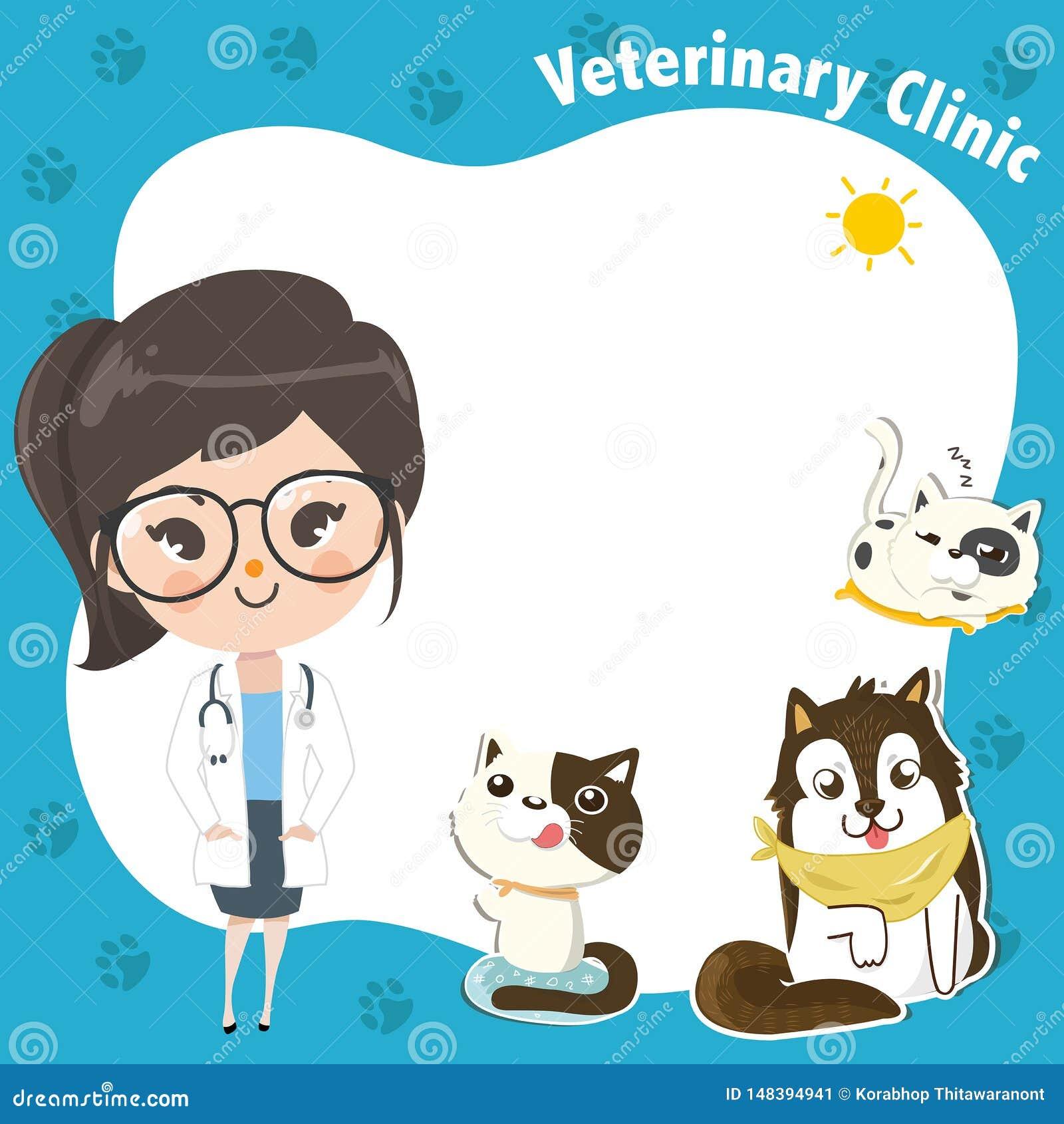 Plantilla para una clínica veterinaria con una muchacha y los animales domésticos del doctor