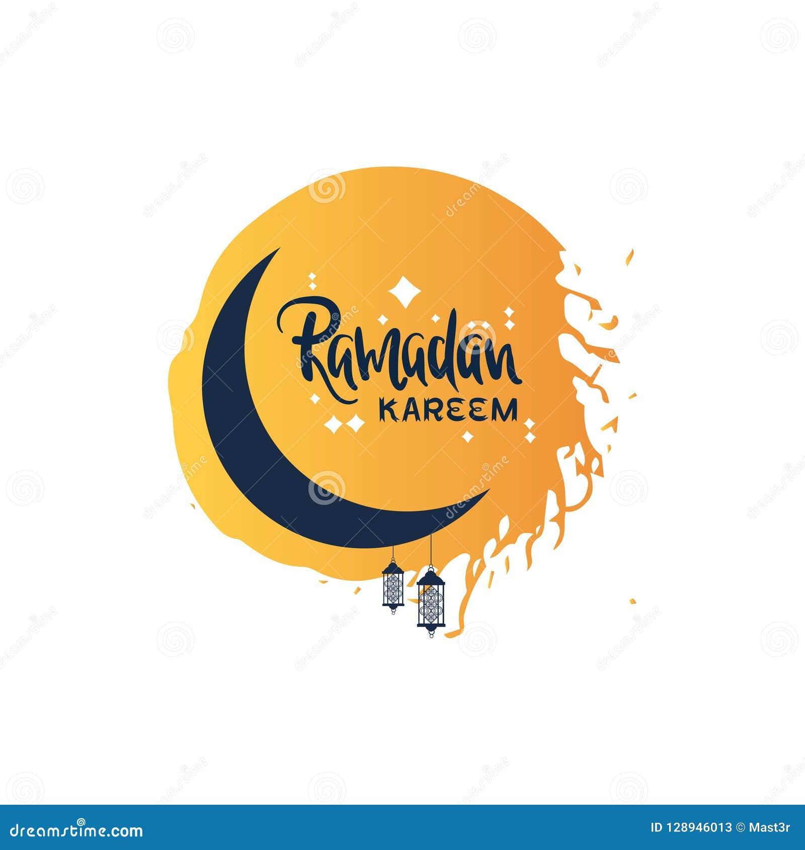 Plantilla plana de la tarjeta de felicitación del mes santo musulmán de la religión del kareem del Ramadán en el fondo blanco