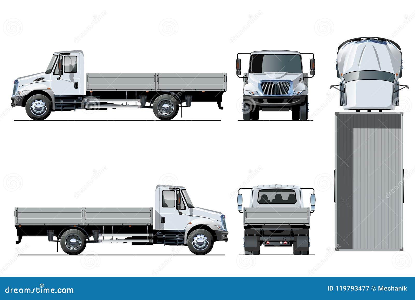 Plantilla plana del camión del vector aislada en blanco