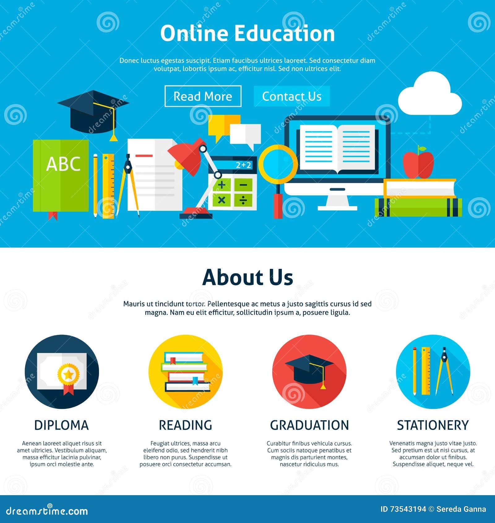 Plantilla Plana Del Diseño Web De La Educación En Línea Ilustración ...
