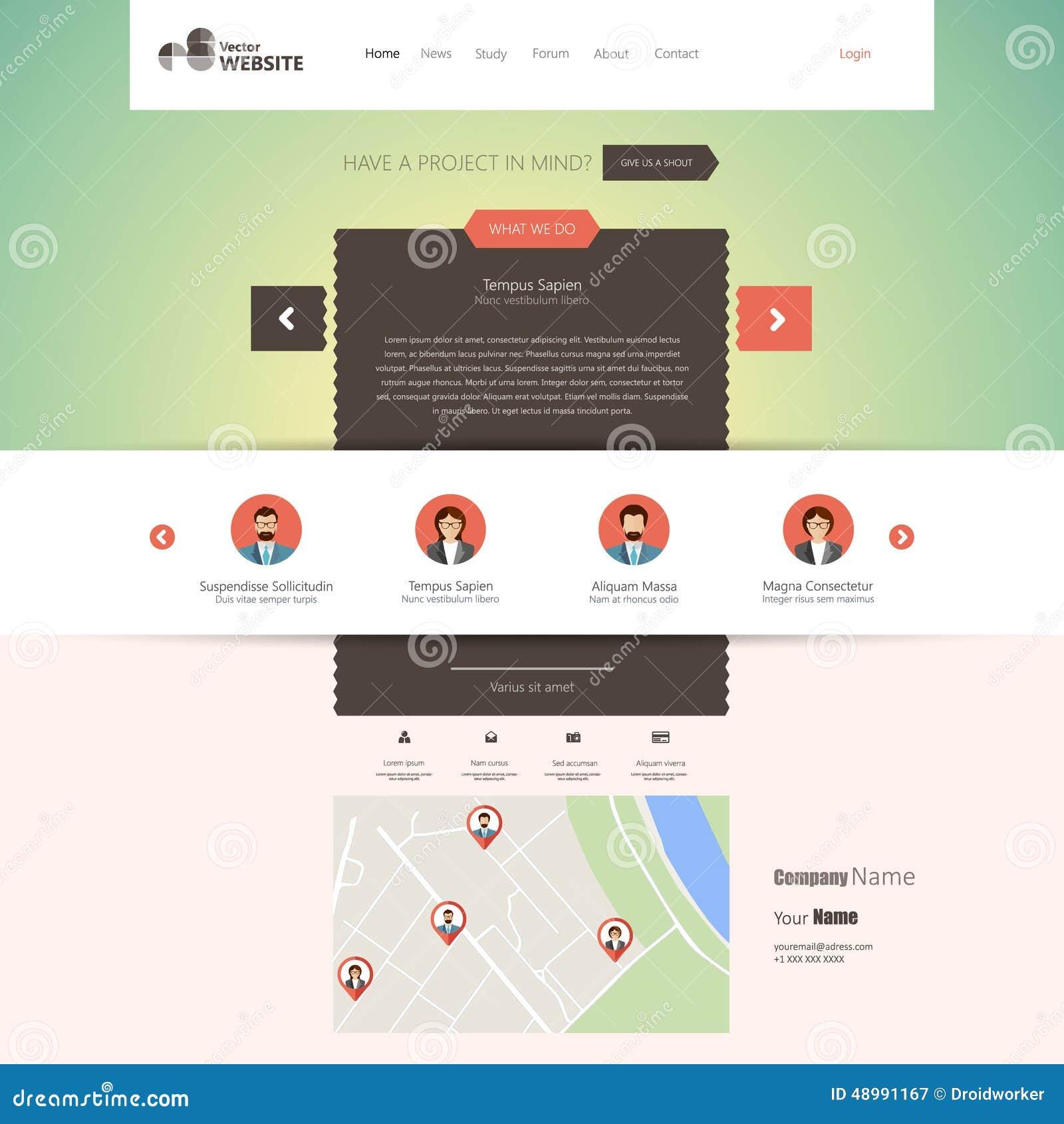 Plantilla Plana Del Sitio Web (homepage, Cartera, Alrededor ...