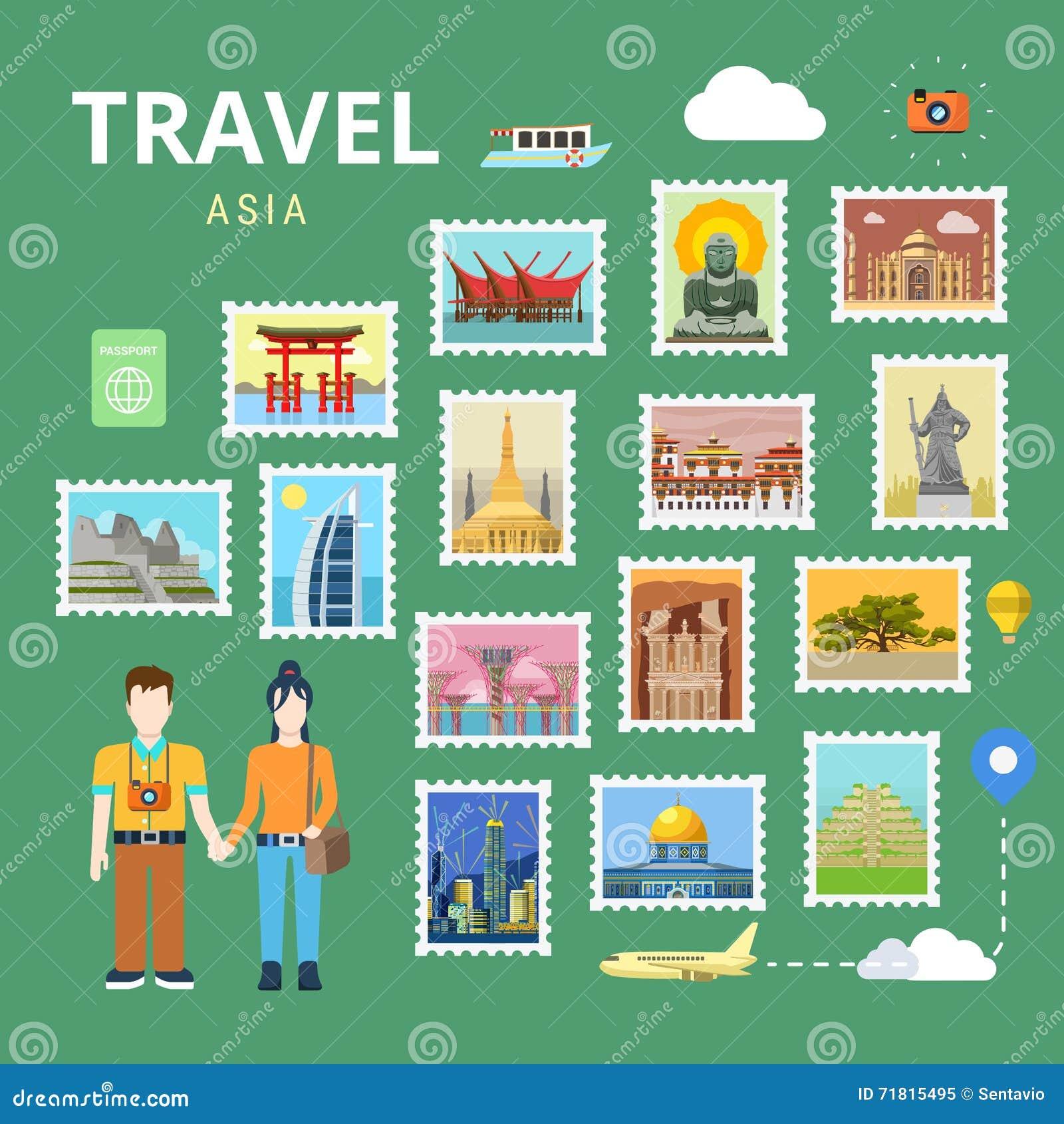Plantilla Plana Del Turismo Del Vector De Asia China Japón La India ...