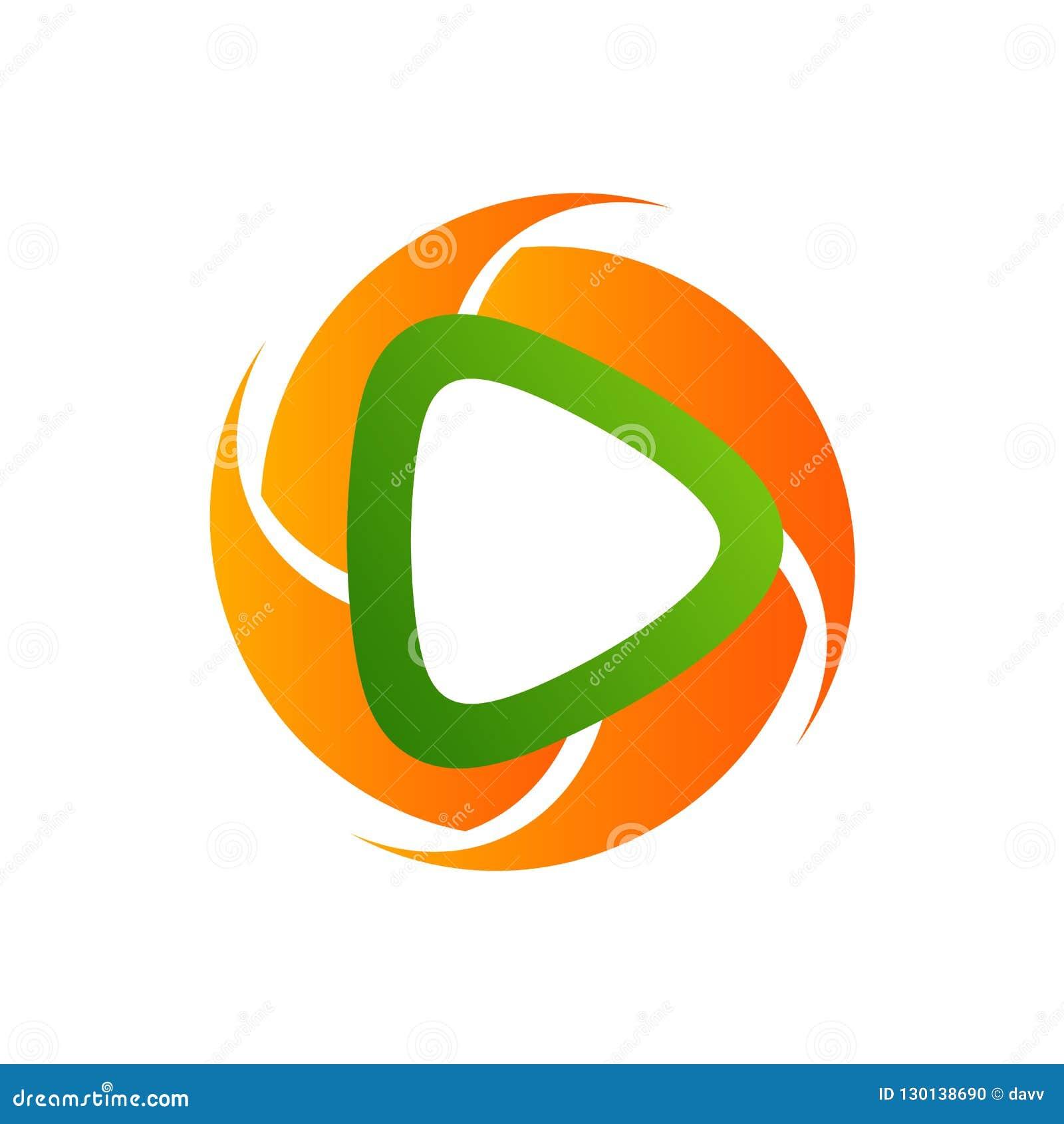 Plantilla poligonal del logotipo del icono del reproductor multimedia del círculo