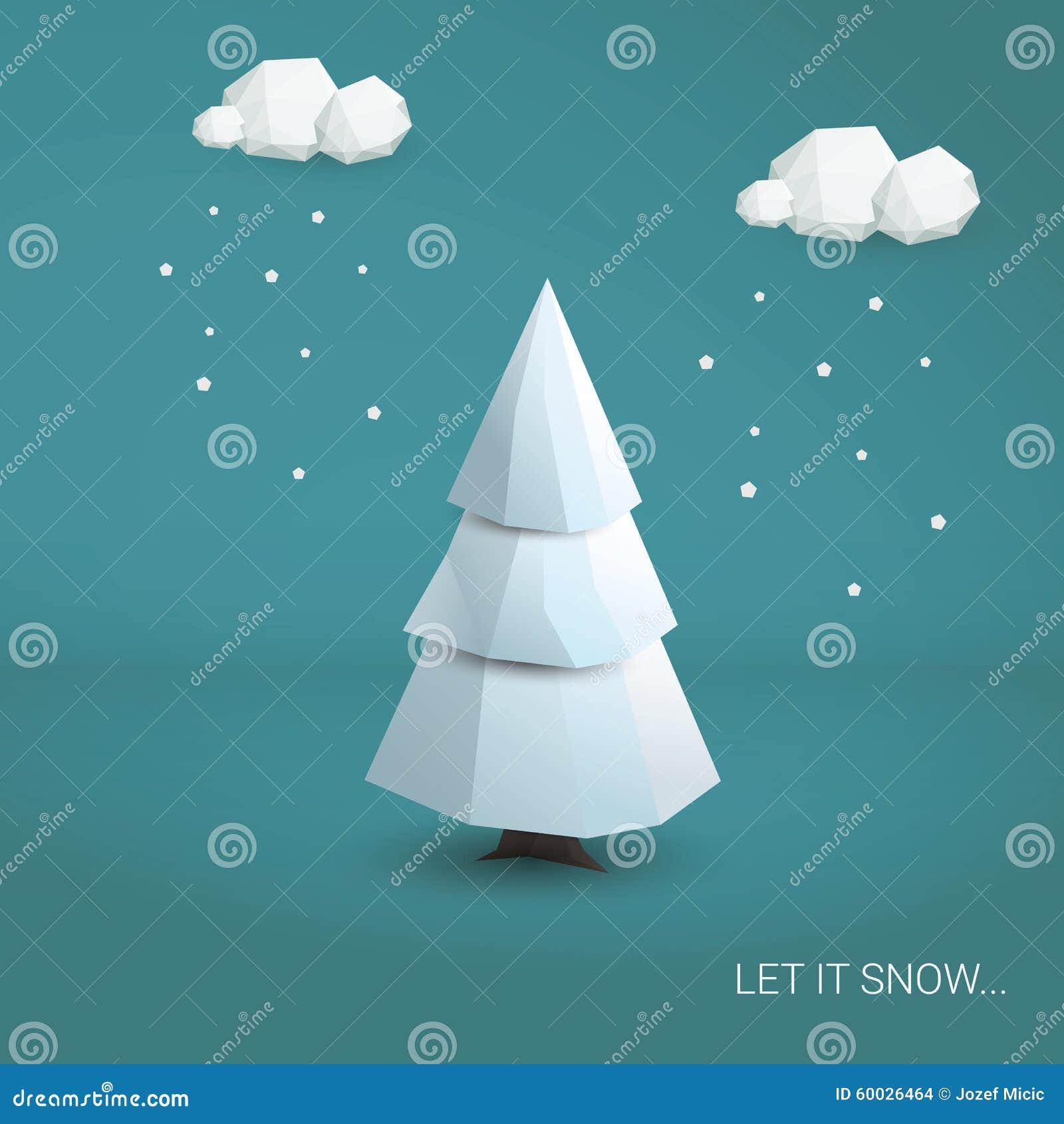 plantilla polivinlica baja de la tarjeta del rbol de navidad d