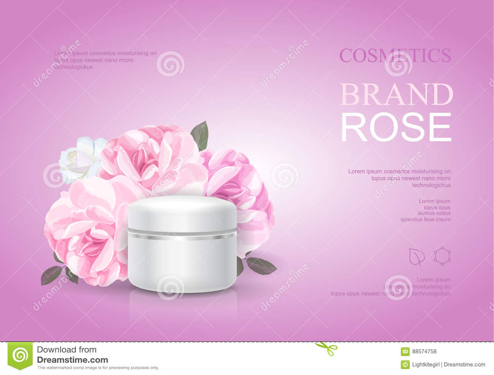 Plantilla poner crema hidratante de Rose, anuncios del cuidado de piel Ejemplo cosmético del vector del cartel del producto de la