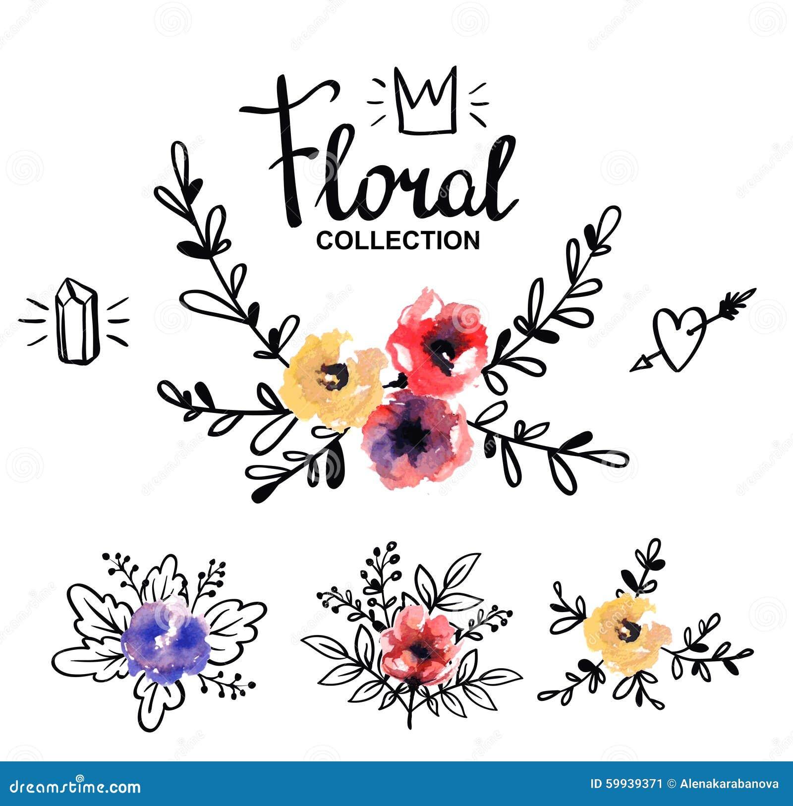 Plantilla Rustica Del Logotipo Con Las Flores Y Las Ramas De La