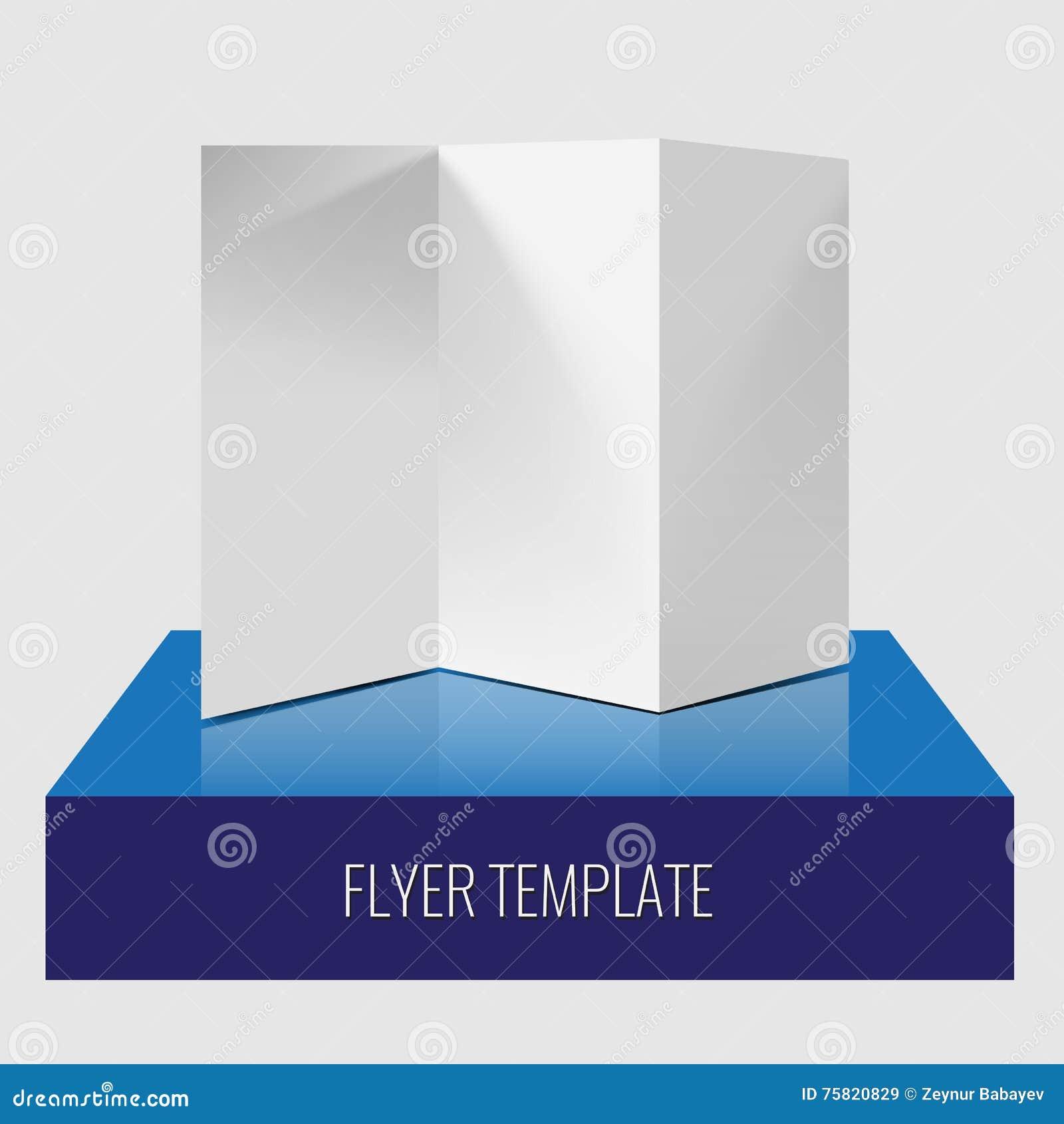 Plantilla realista de papel triple en blanco del folleto o del aviador con las sombras