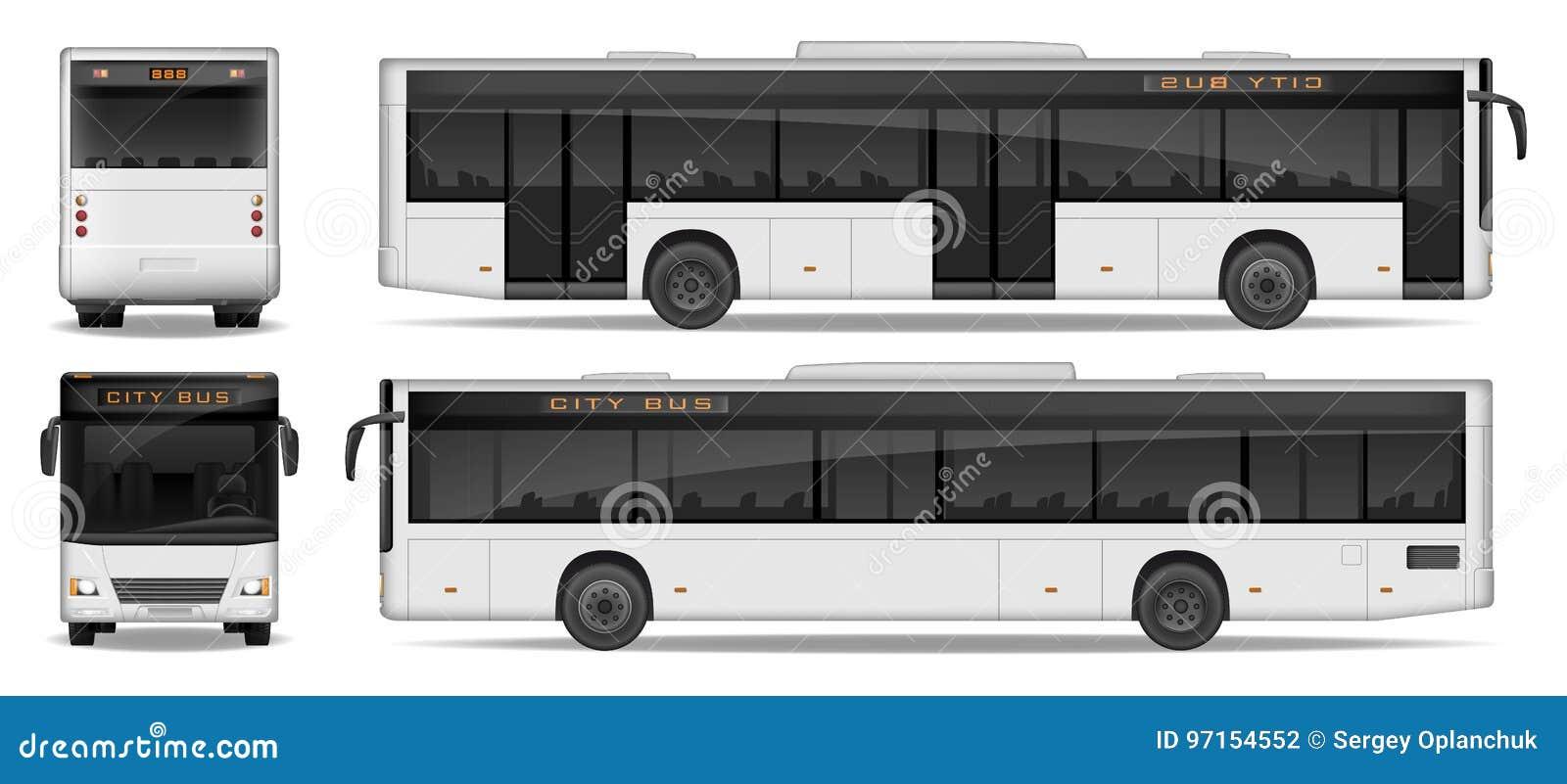 Plantilla Realista Del Autobús De La Ciudad Aislada En El Fondo ...