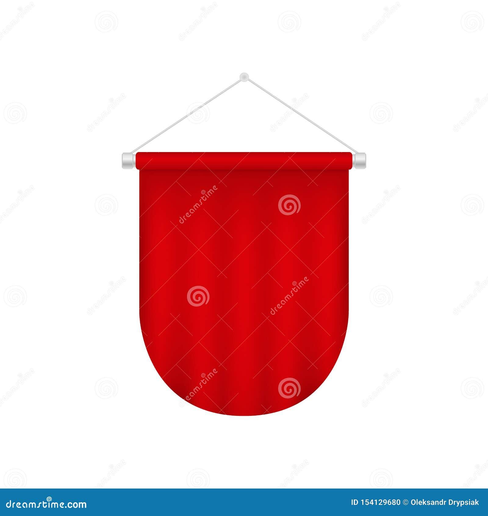 Plantilla realista del banderín del vector Bandera en blanco roja