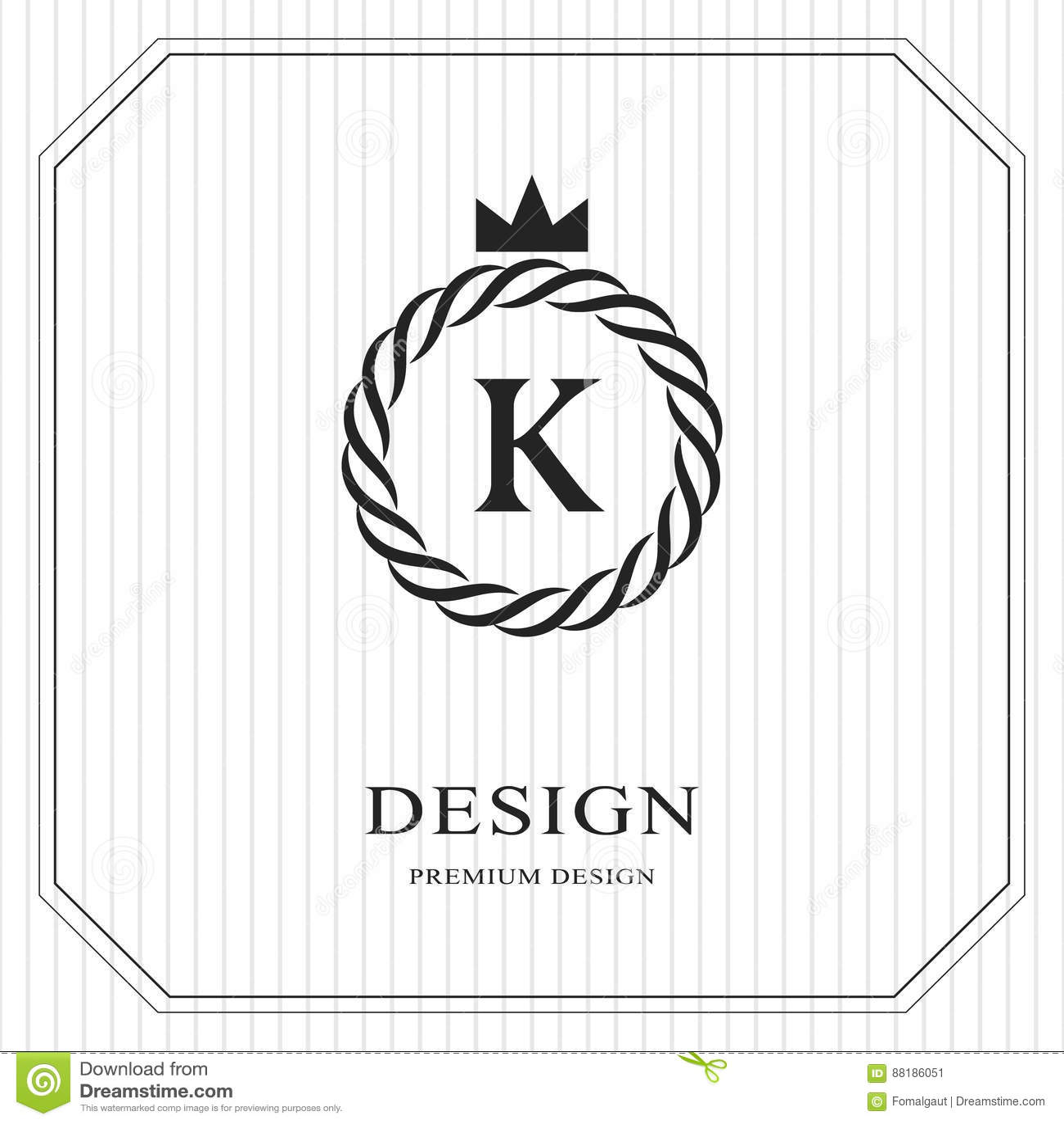 Plantilla redonda del monograma abstracto Modelo inconsútil linear Diseño de lujo elegante moderno del logotipo Emblema K, corona