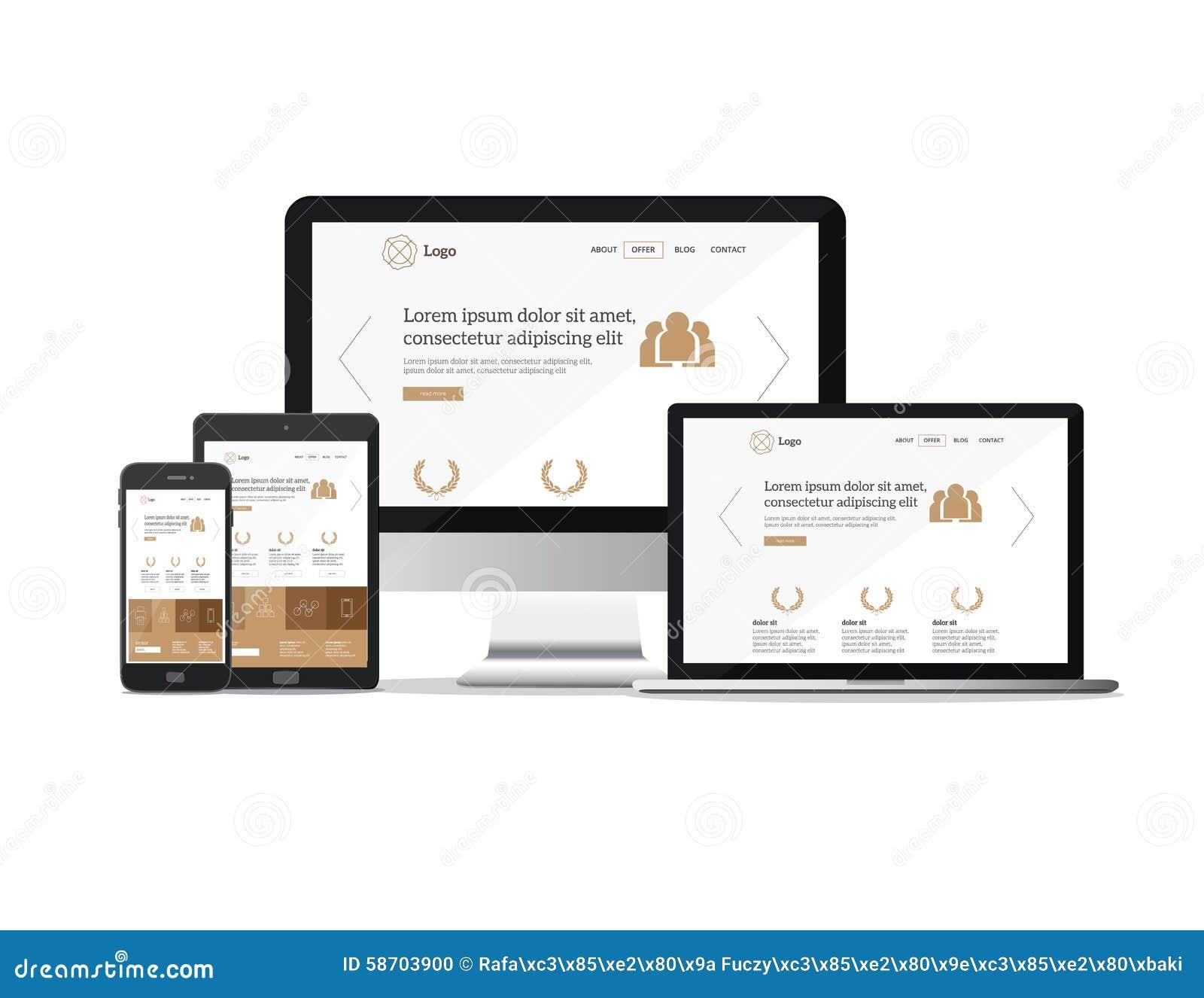 Plantilla Responsiva Del Sitio Web De Los Dispositivos Ilustración ...