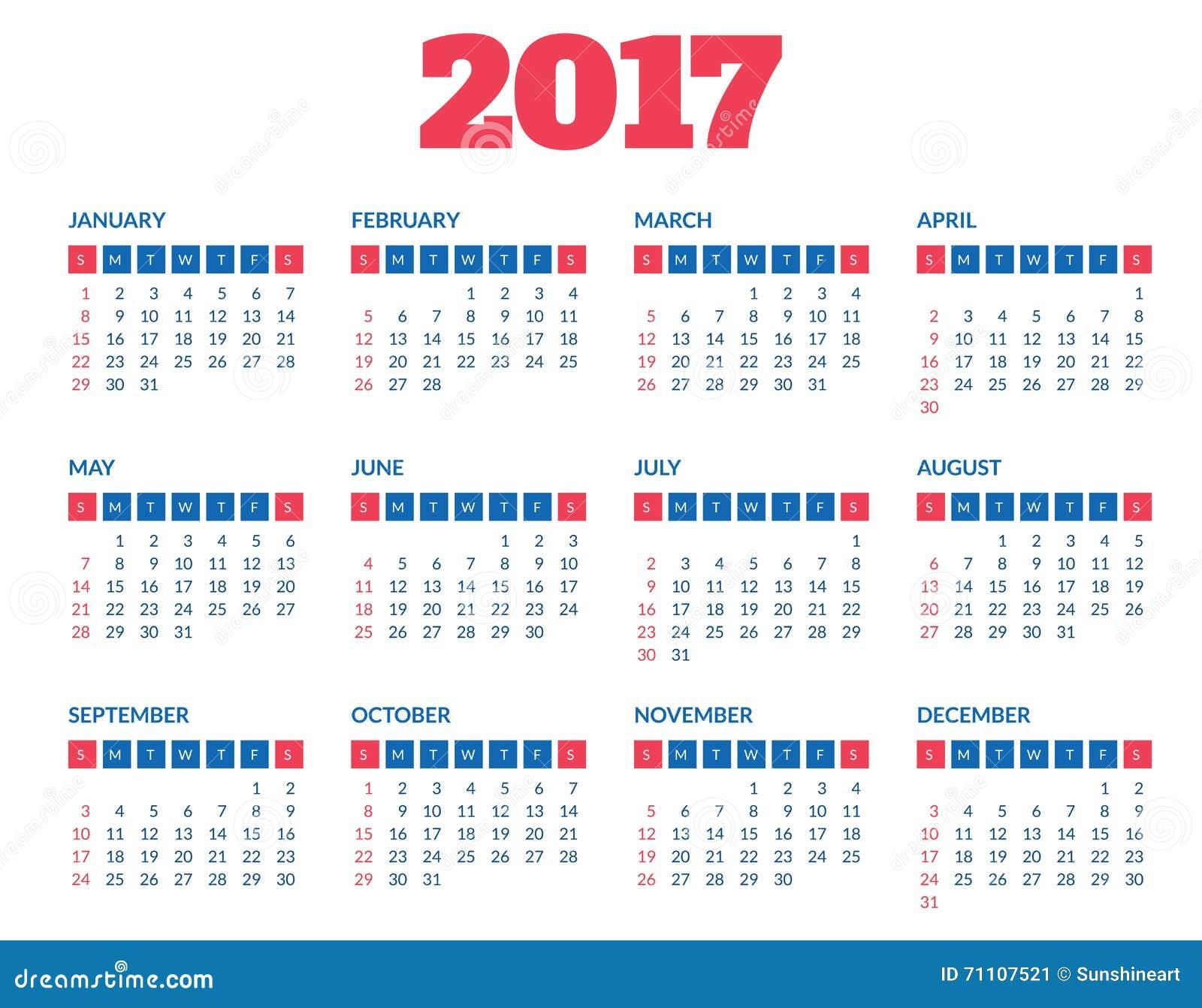 Plantilla simple 2017 del calendario