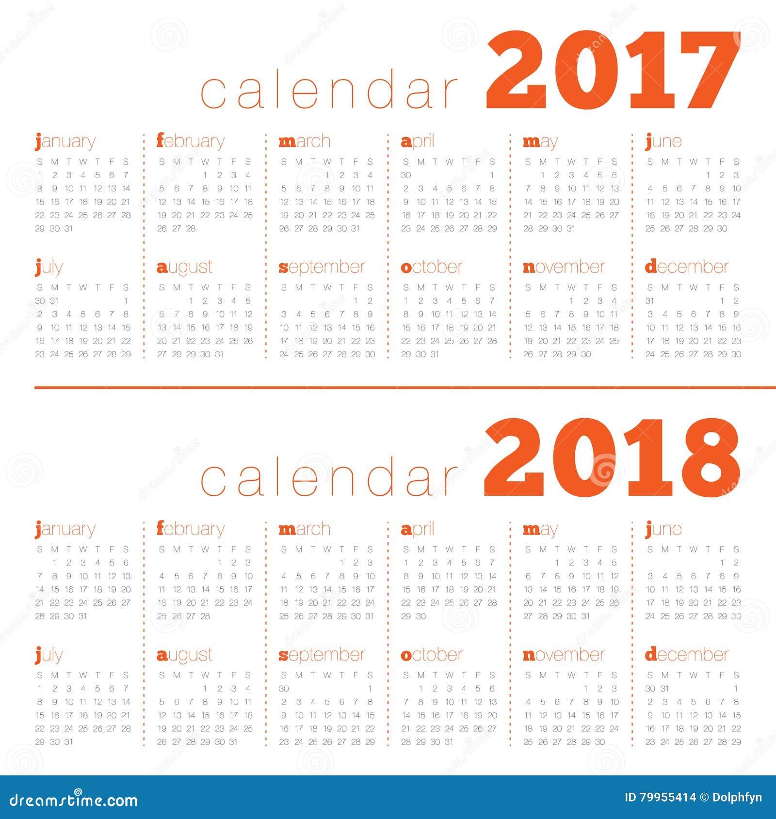 Plantilla simple del calendario para 2017 y 2018 ilustraci n del vector ilustraci n de - Plantilla calendario de mesa ...